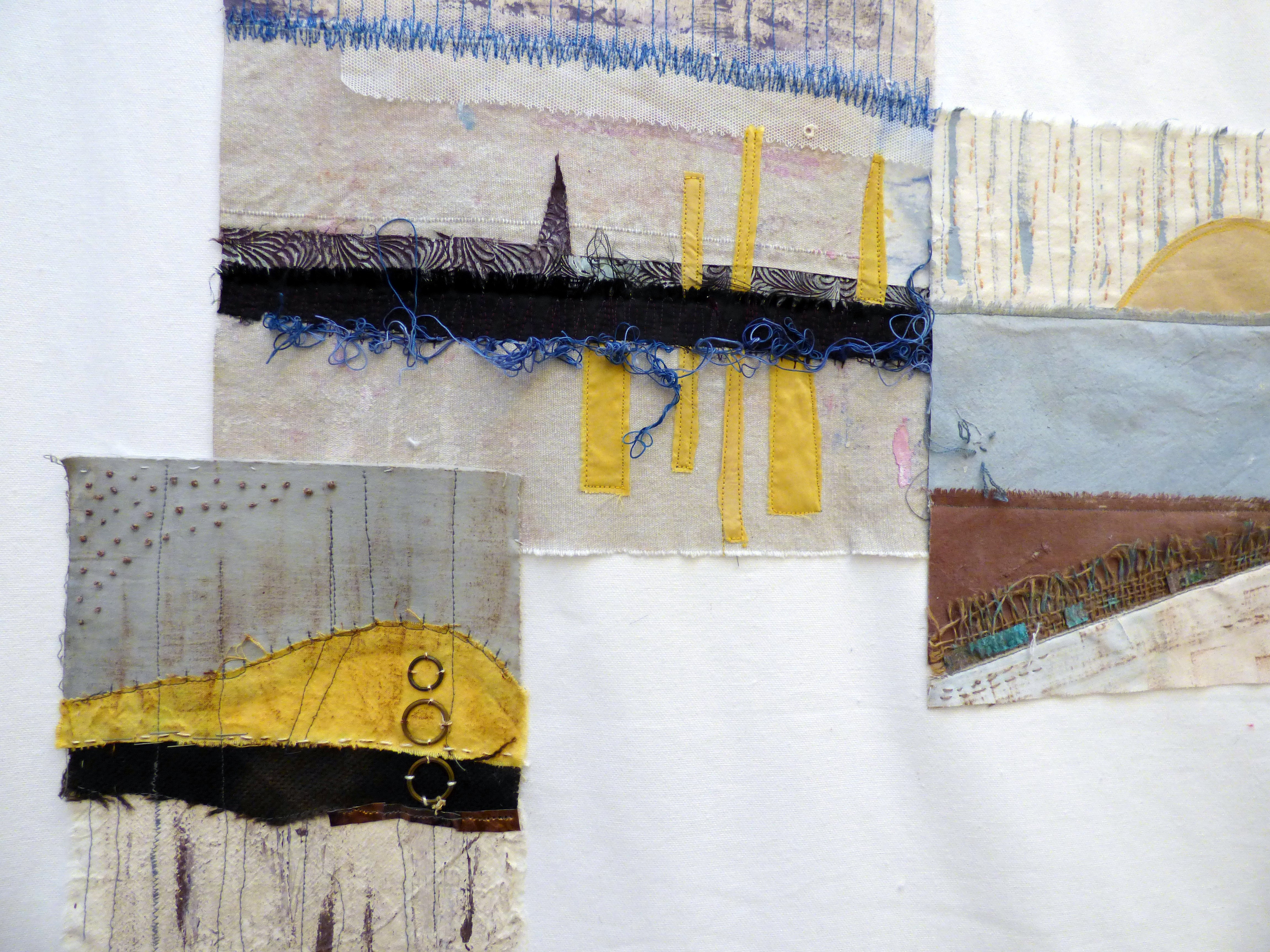 (detail) On THE EDGE OF MEMORIES by Denise R. Williams, Textile 21, Aug 2018. Dyes, fabric paint, pen, fabric, stitch