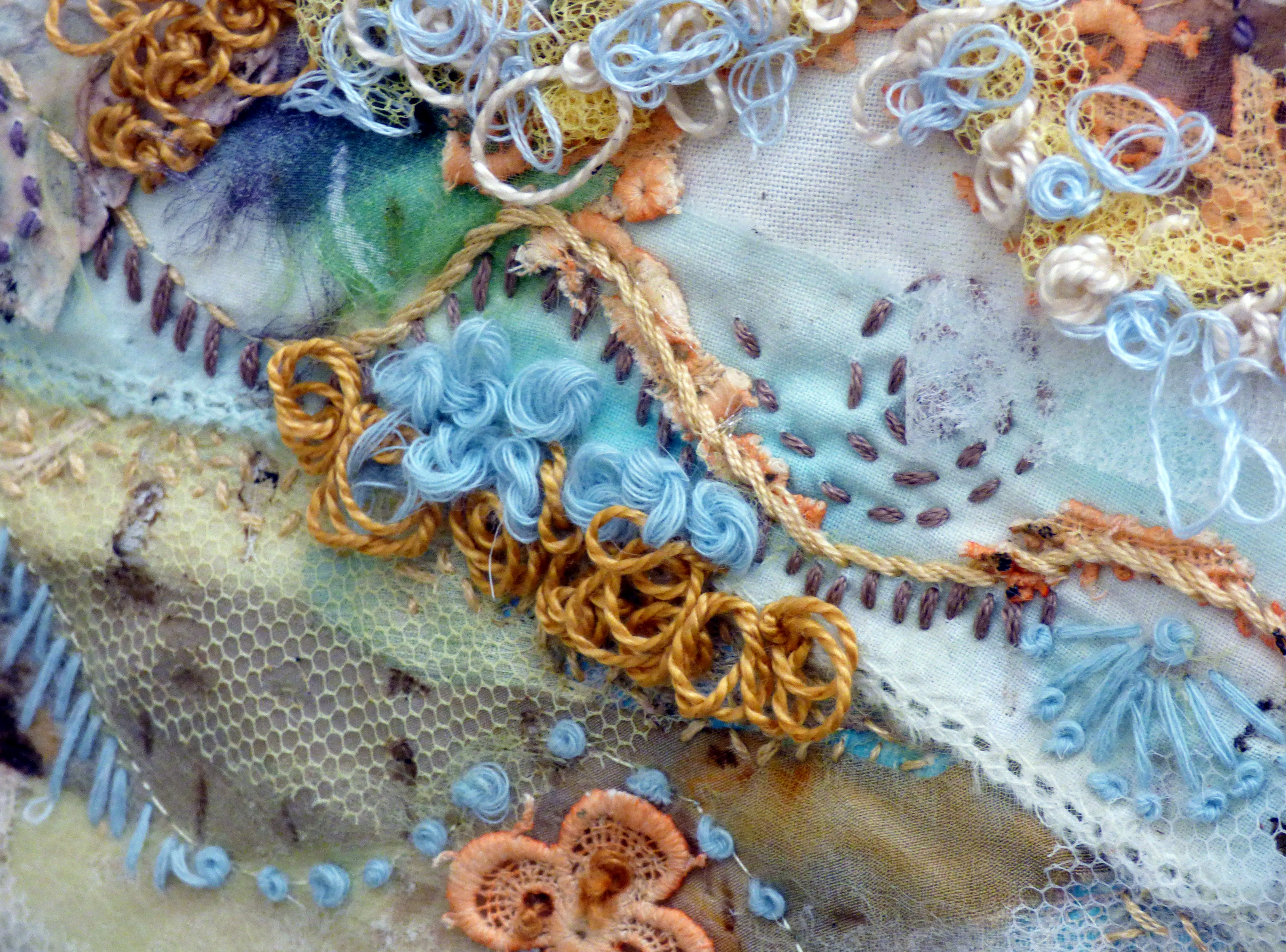 ( detail ) ON THE EDGE OF THE TIDE 2 by Elsa Buch, Textile 21, Aug 2018. Textiles and mixed media