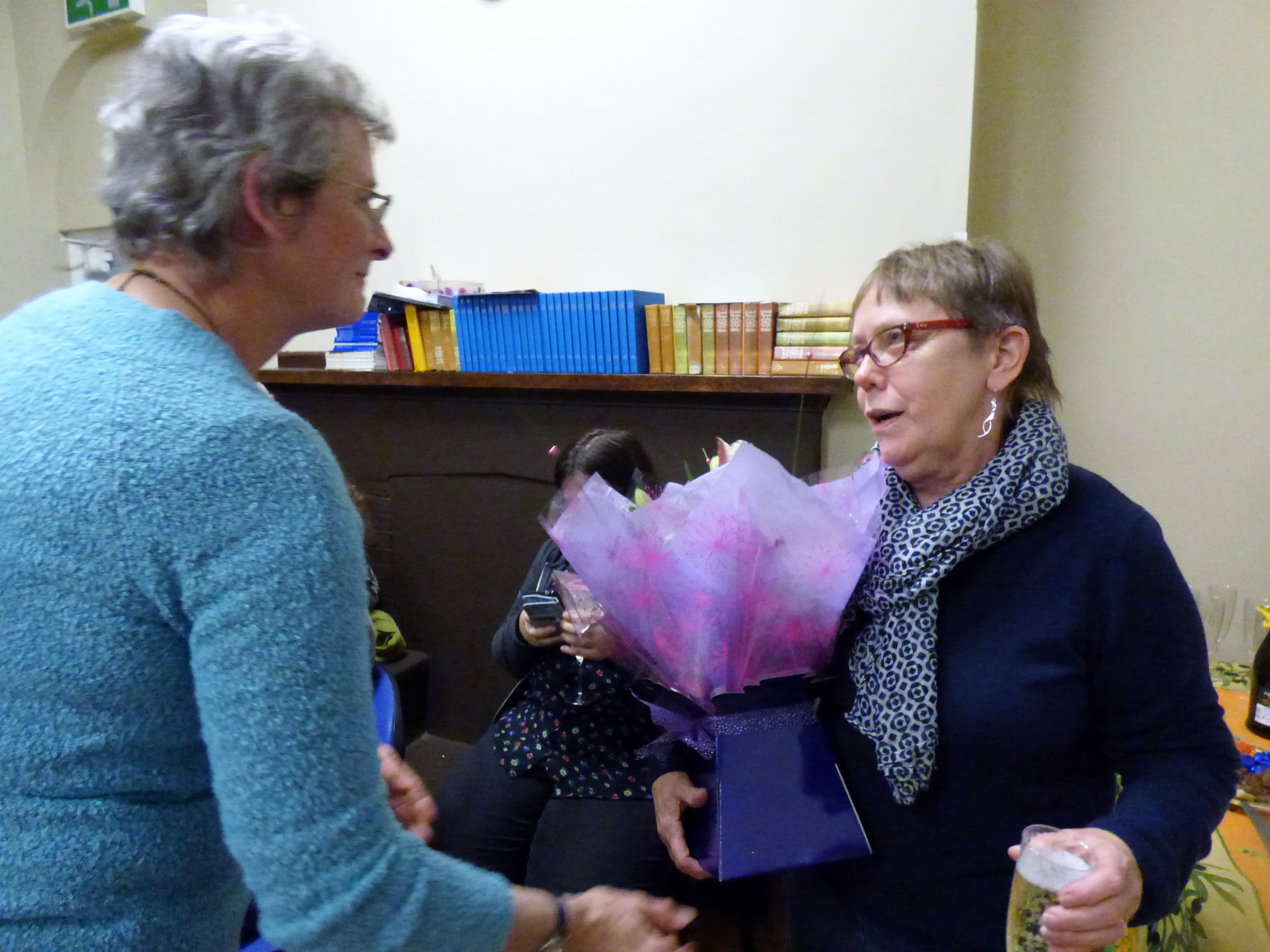 Marie Stacey is retiring as Programme Secretary after a very strenuous year. She is presented with a bouquet by our Chair, Kim Parkman at beautiful result at the end of the design workshop- Kaffe Fassett workshop, All Hallows, Dec 2016