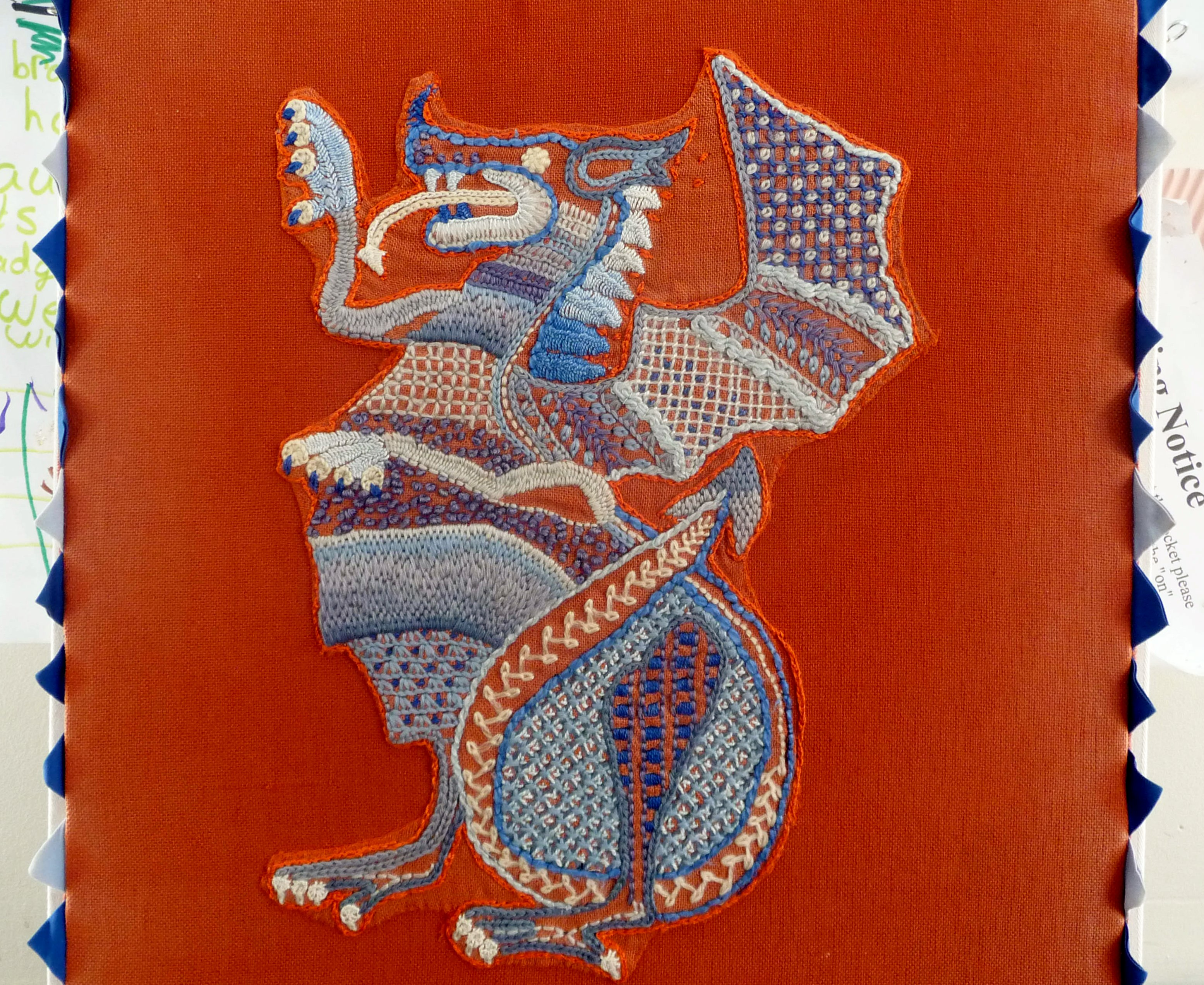 Welsh dragon embroidered by Marie Stacey
