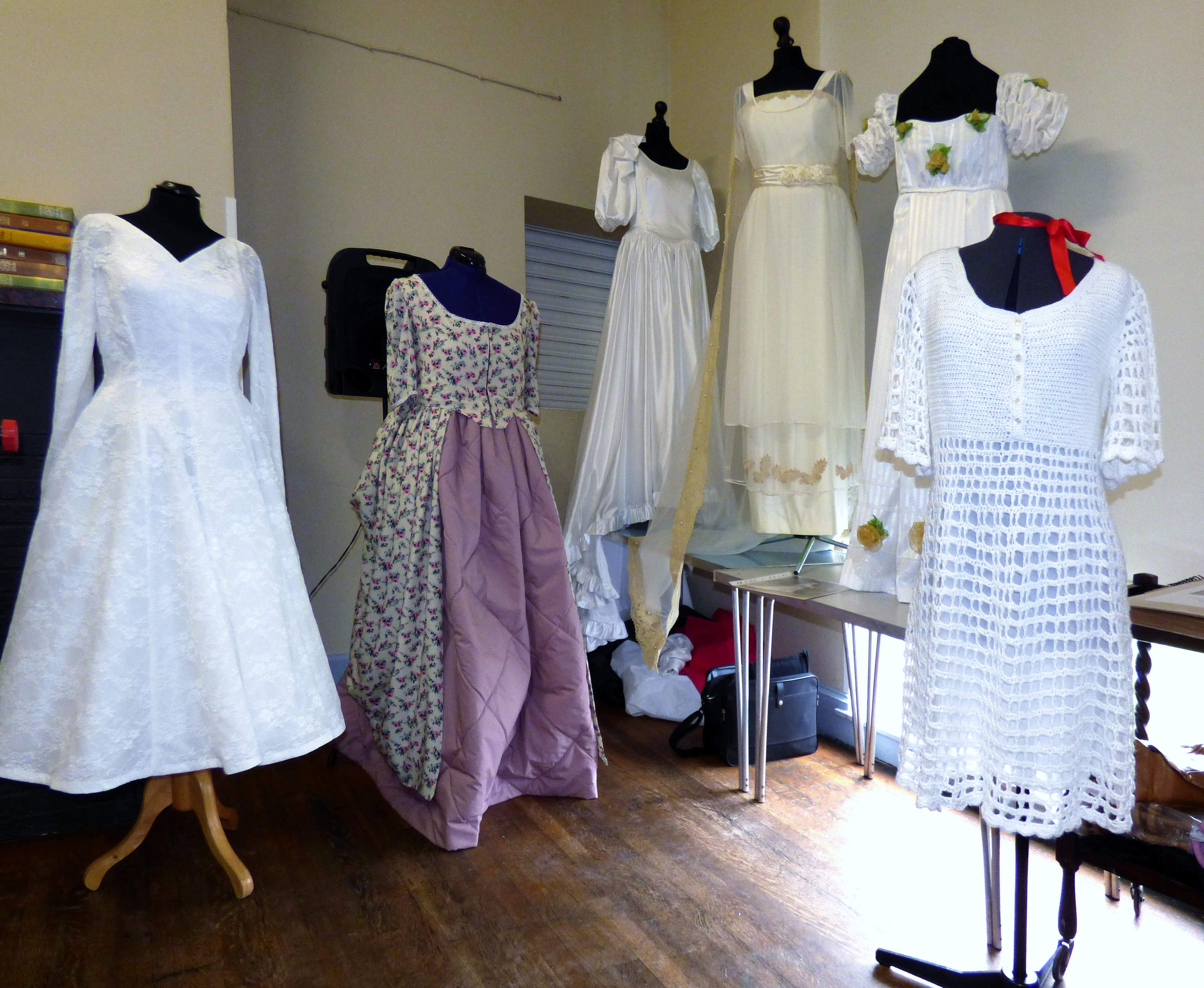"""samples of wedding dresses made by Gill Roberts for her """"History of the Wedding Dress"""" Talk, MEG 2018"""