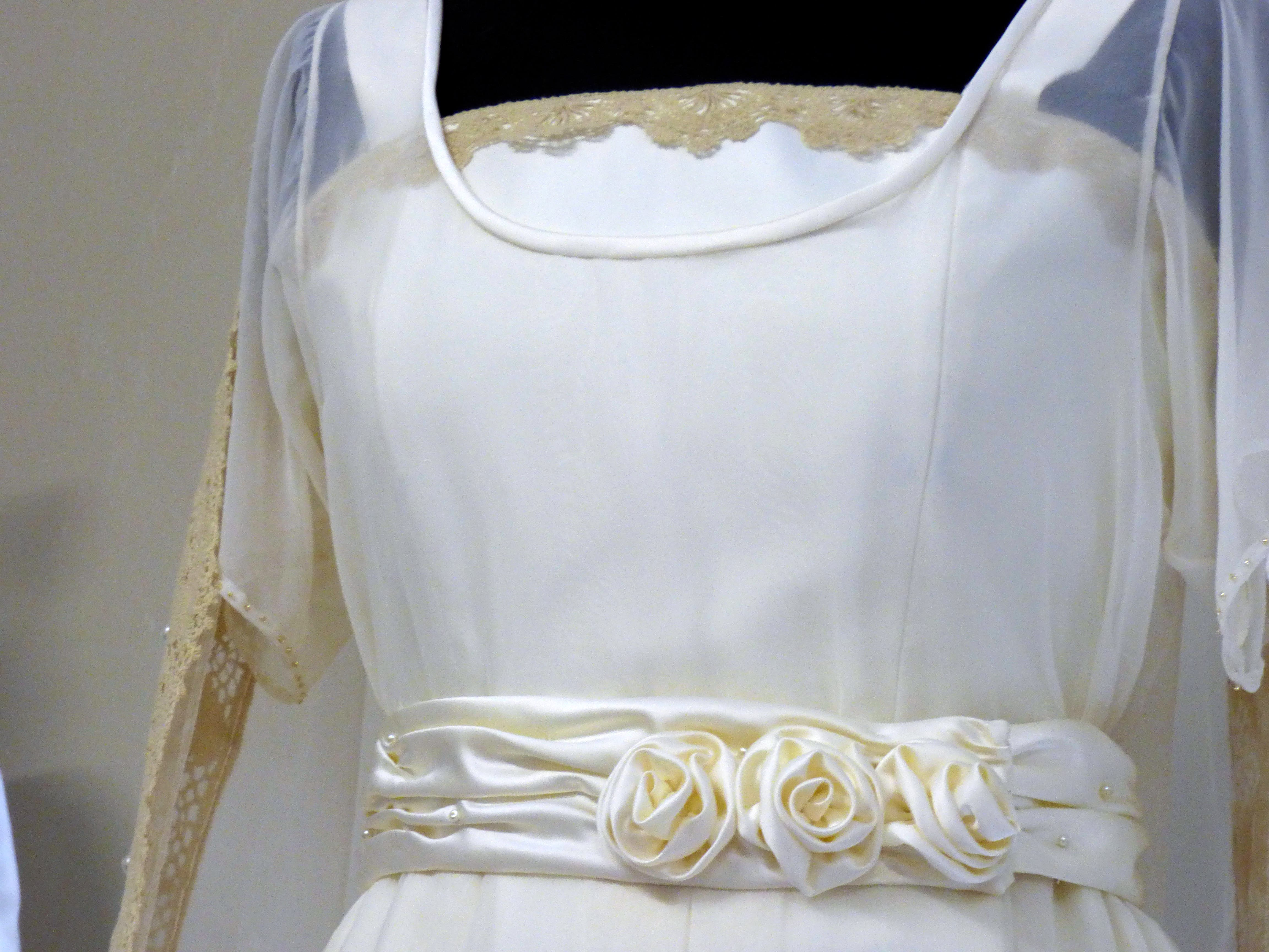 """detail of a wedding dresse made by Gill Roberts for her """"History of the Wedding Dress"""" Talk, MEG 2018"""