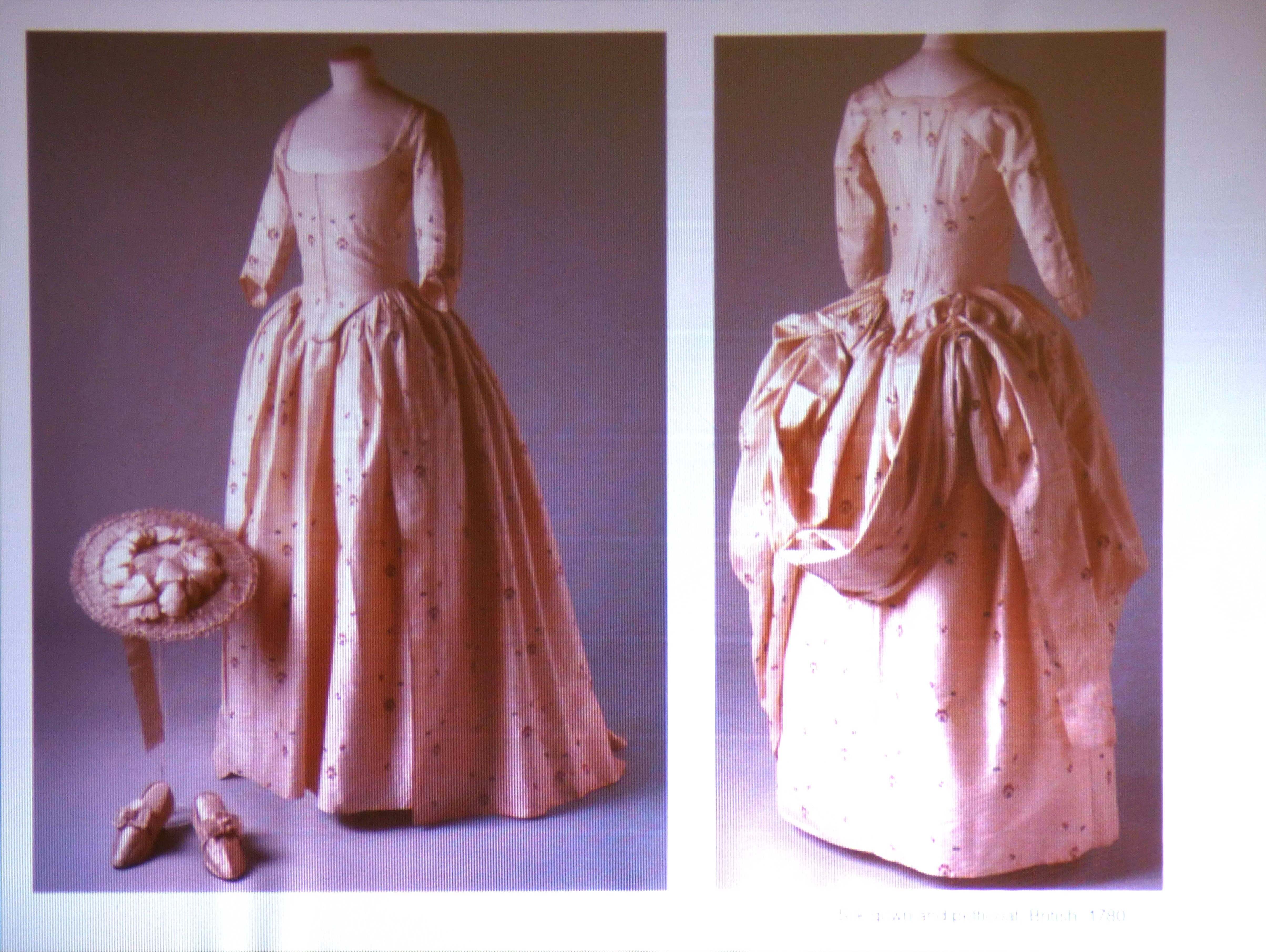 slide showing silk gown and petticoat, British, 1780, History of the Wedding Dress talk by Gill Roberts, MEG 2018