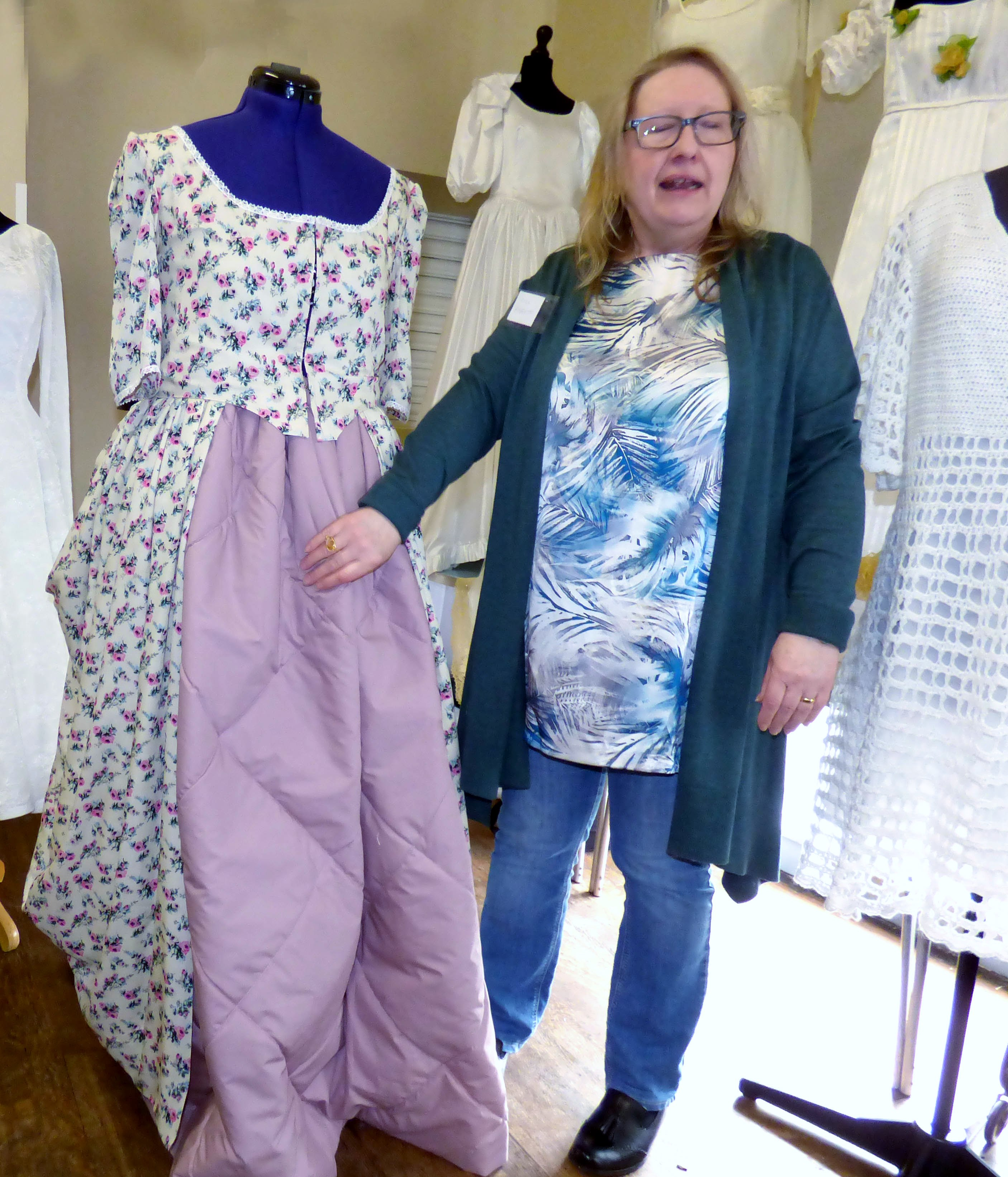 Gill Roberts with a historical wedding dress she made, History of the Wedding Dress talk by Gill Roberts, MEG 2018