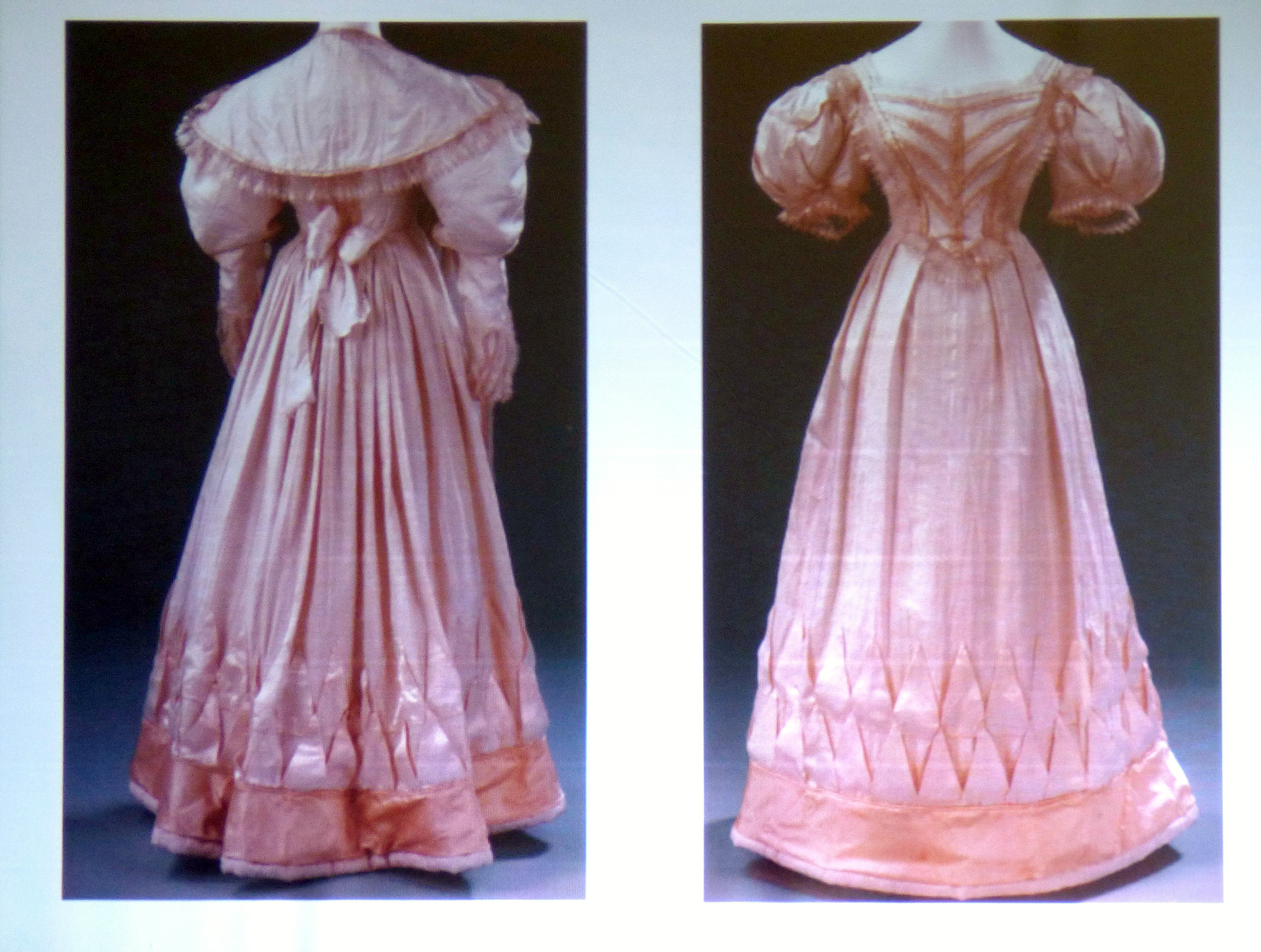 slide showing silk wedding dress, over-sleeves and pelerine 1823, History of the Wedding Dress talk by Gill Roberts, MEG 2018