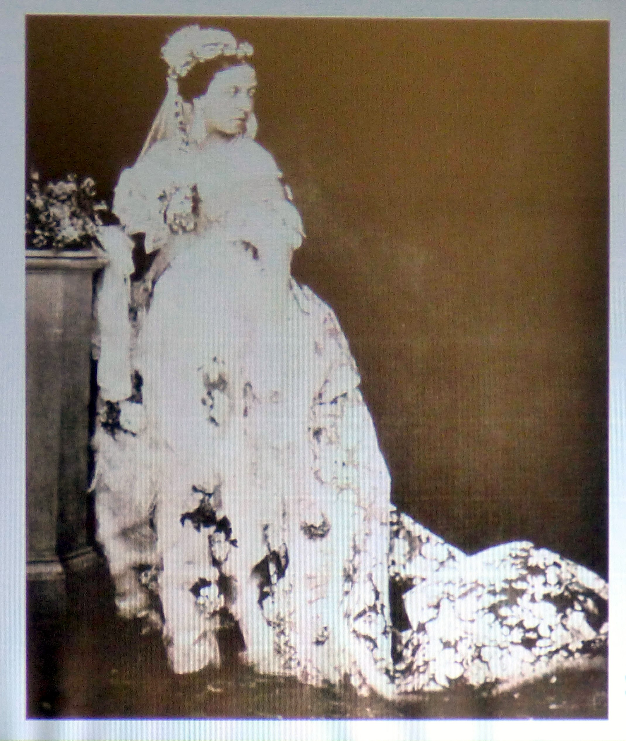 slide showing Queen Victoria photographed on her wedding day