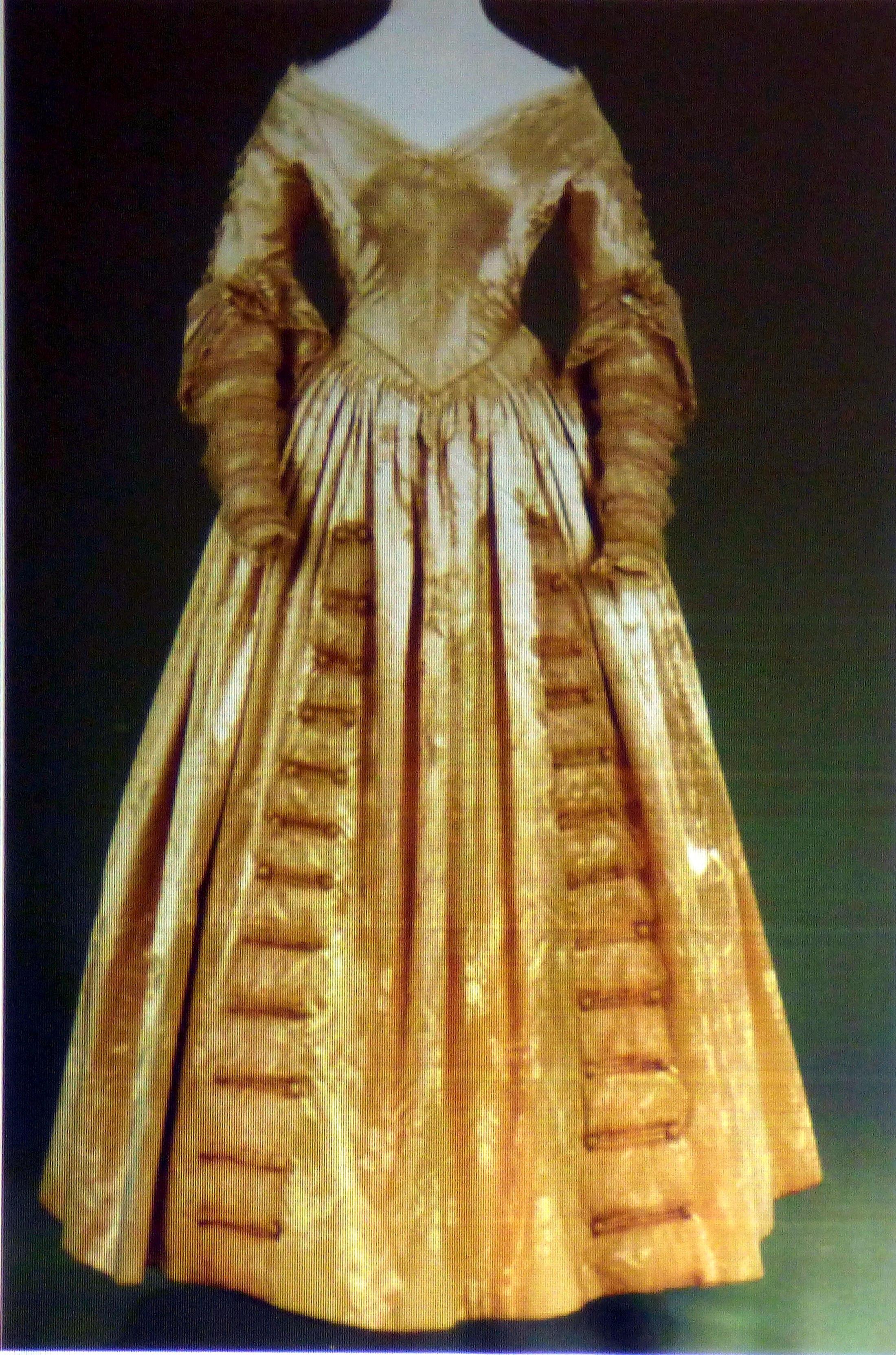 slide showing figured silk-satin dress 1841, History of the Wedding Dress talk by Gill Roberts, MEG 2018