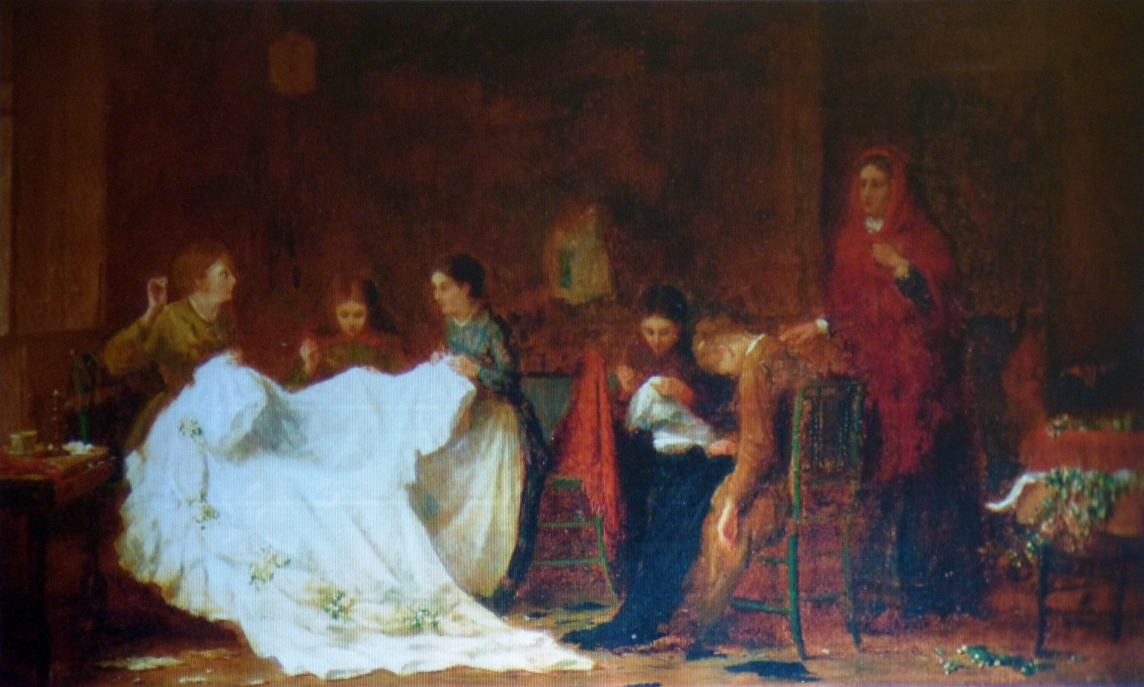 """slide showing """"The Wedding Dress"""" by Frederick Daniel Hardy 1860's, History of the Wedding Dress talk by Gill Roberts"""