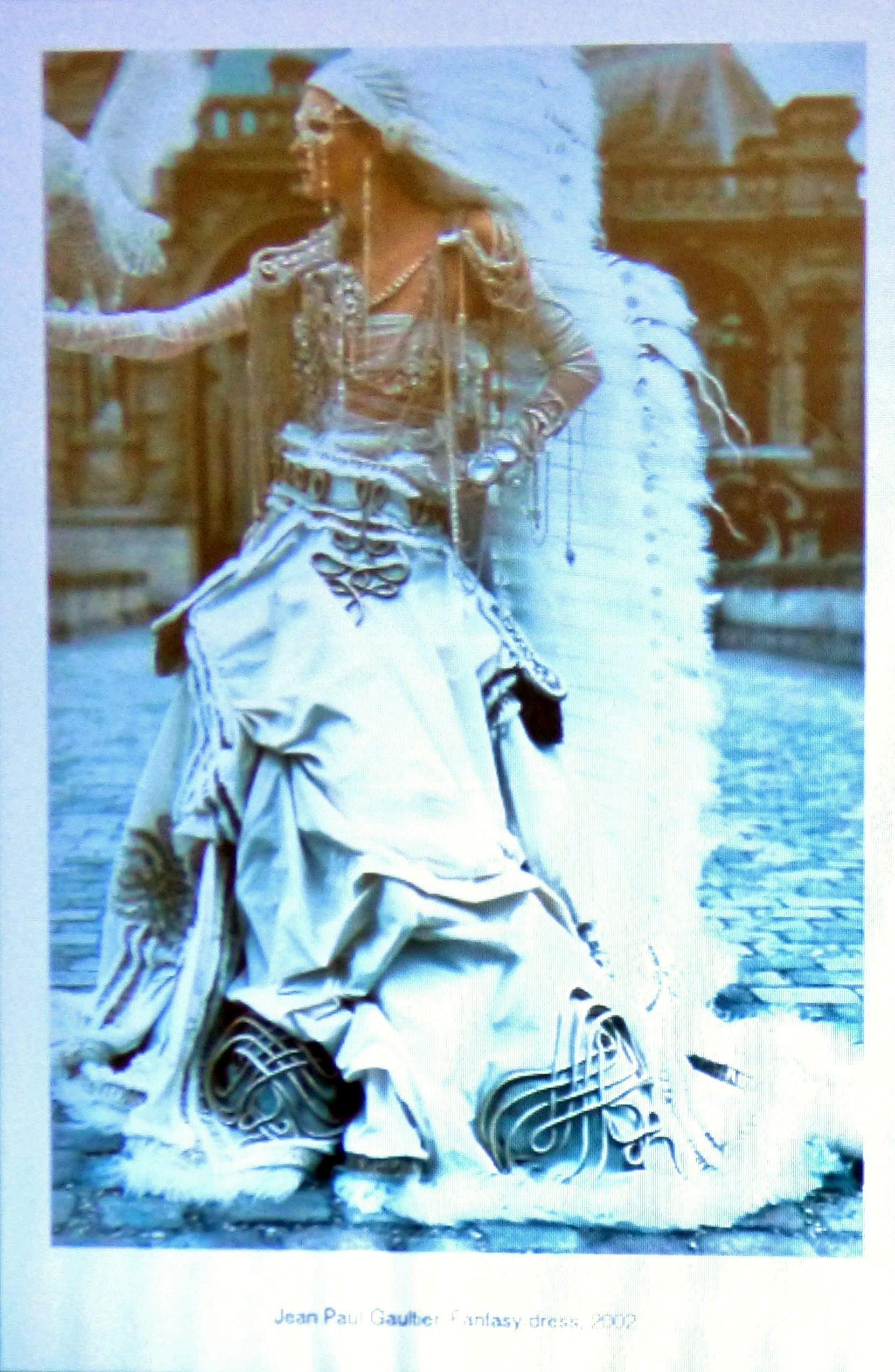 slide showing a fantasy wedding dress by Jean Paul Gautier 2002