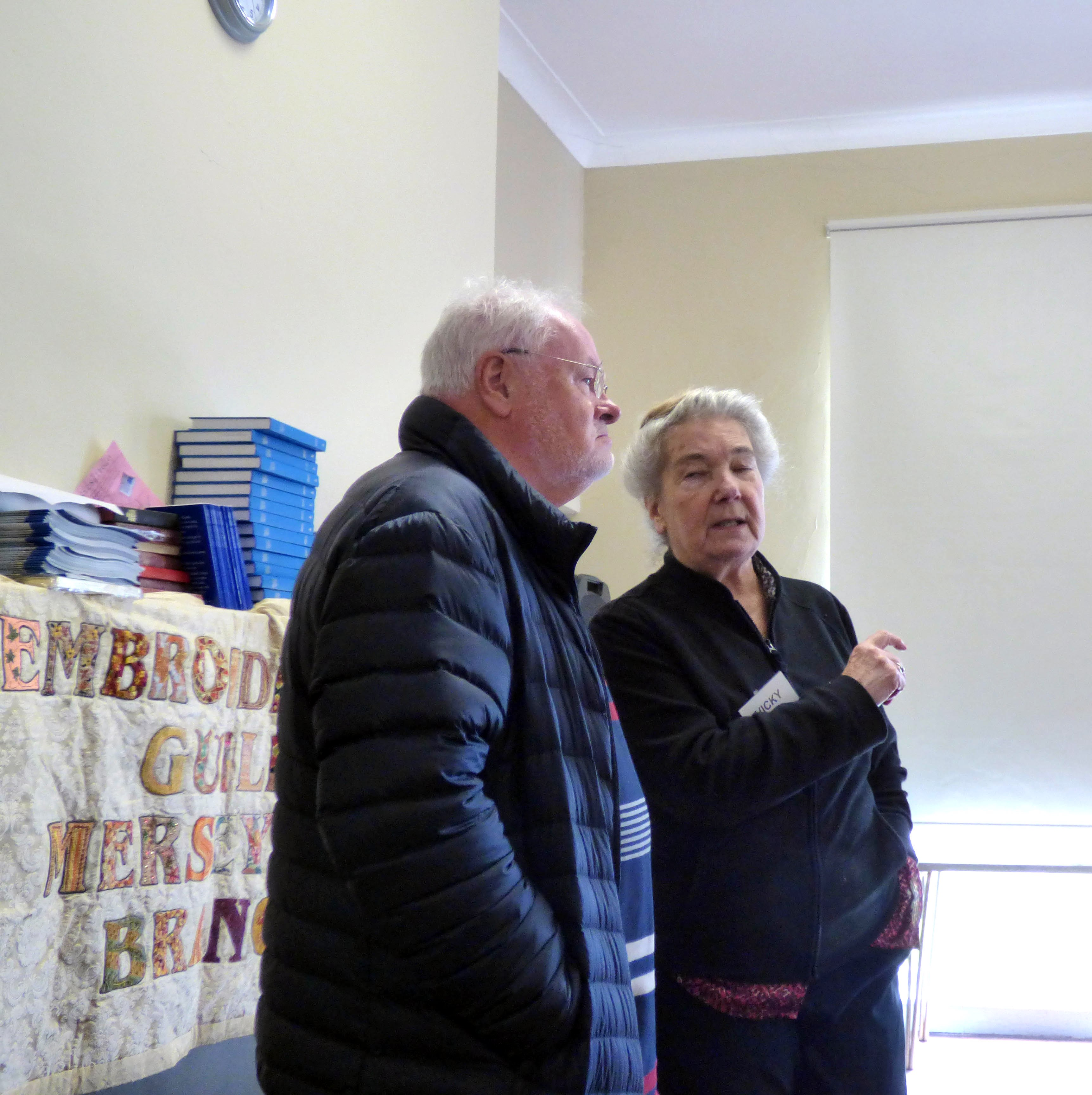 Terry Murphy, CEO of the Embroiderers' Guild with MEG Chair Vicky Williams, March 2018
