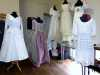 "samples of wedding dresses made by Gill Roberts for her ""History of the Wedding Dress"" Talk, MEG 2018"