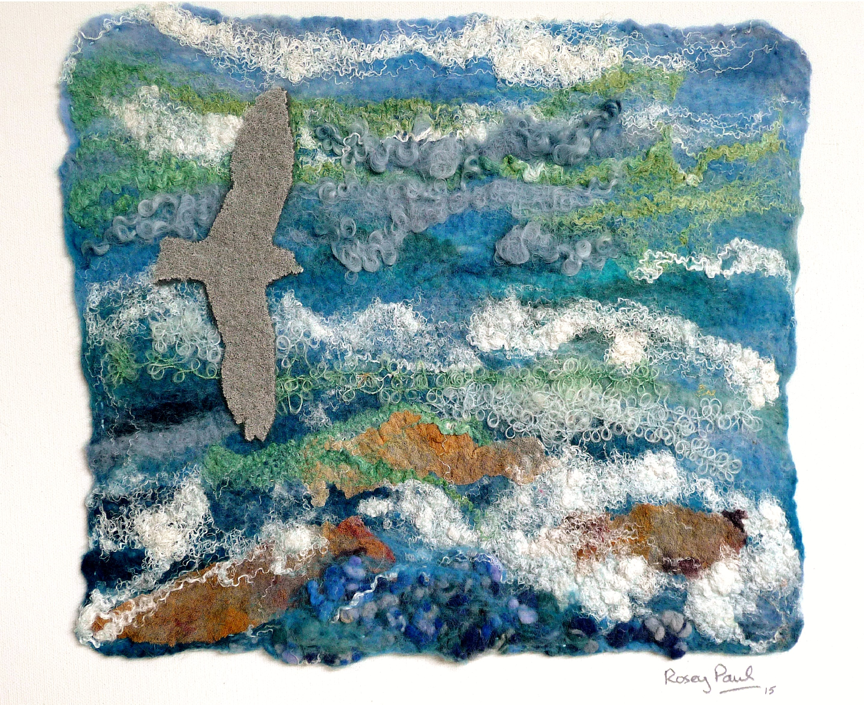 ALONG THE WATER'S EDGE by Rosie Paul, hand-felted textile
