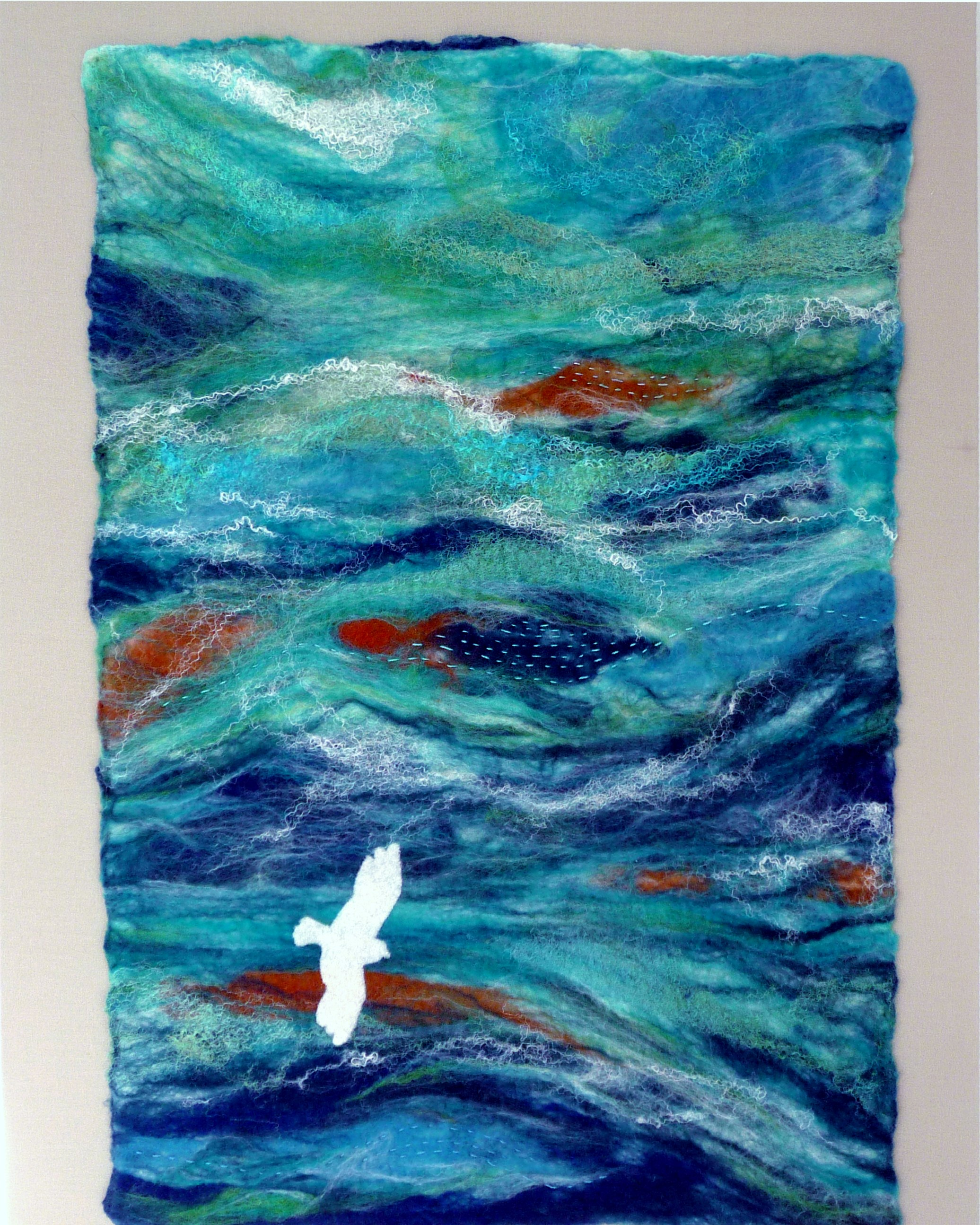 FLYING SOLO by Rosey  Paul, hand-felted textile