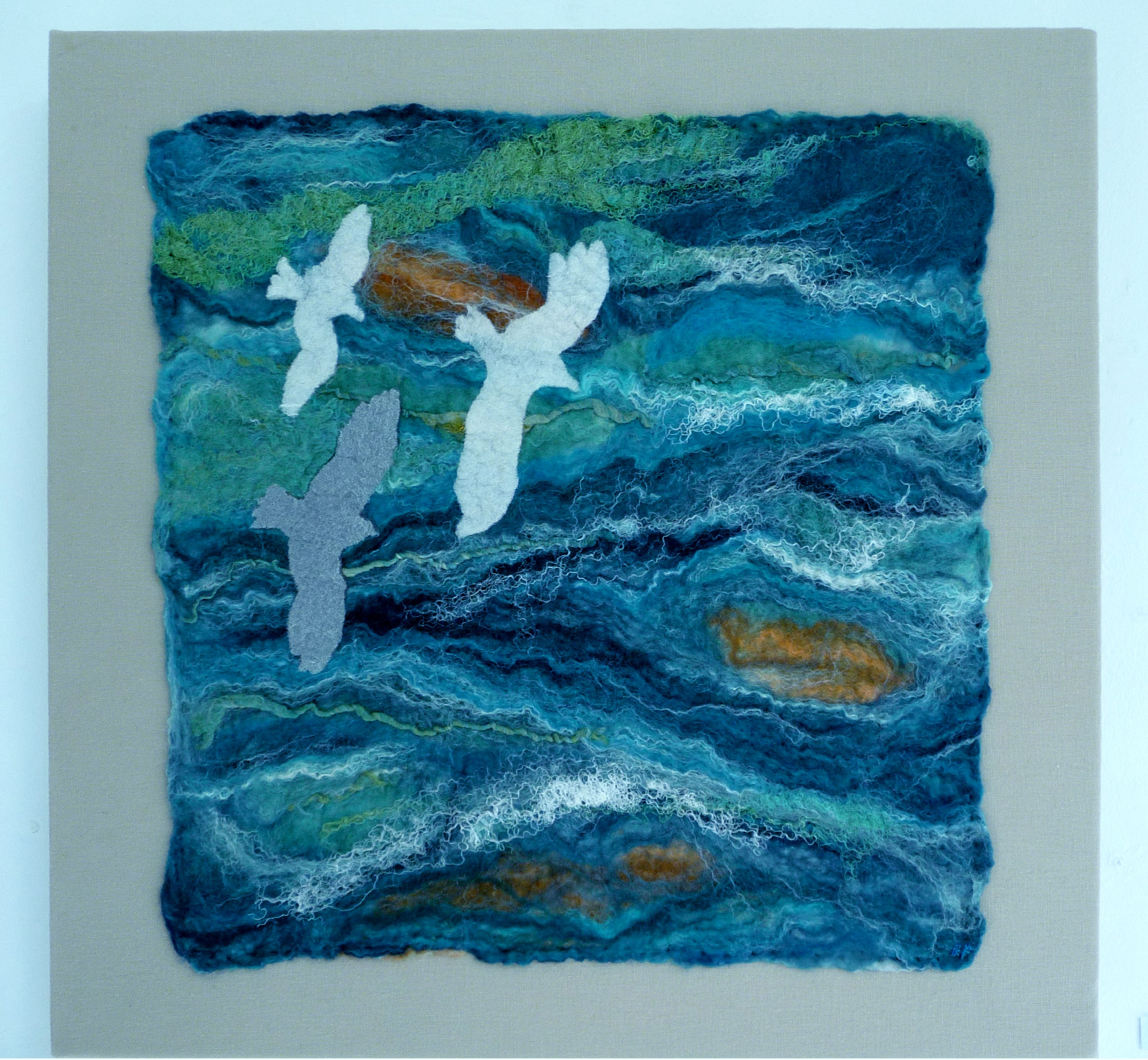 OVER AZURE SEAS 1 by Rosey  Paul, hand-felted textile