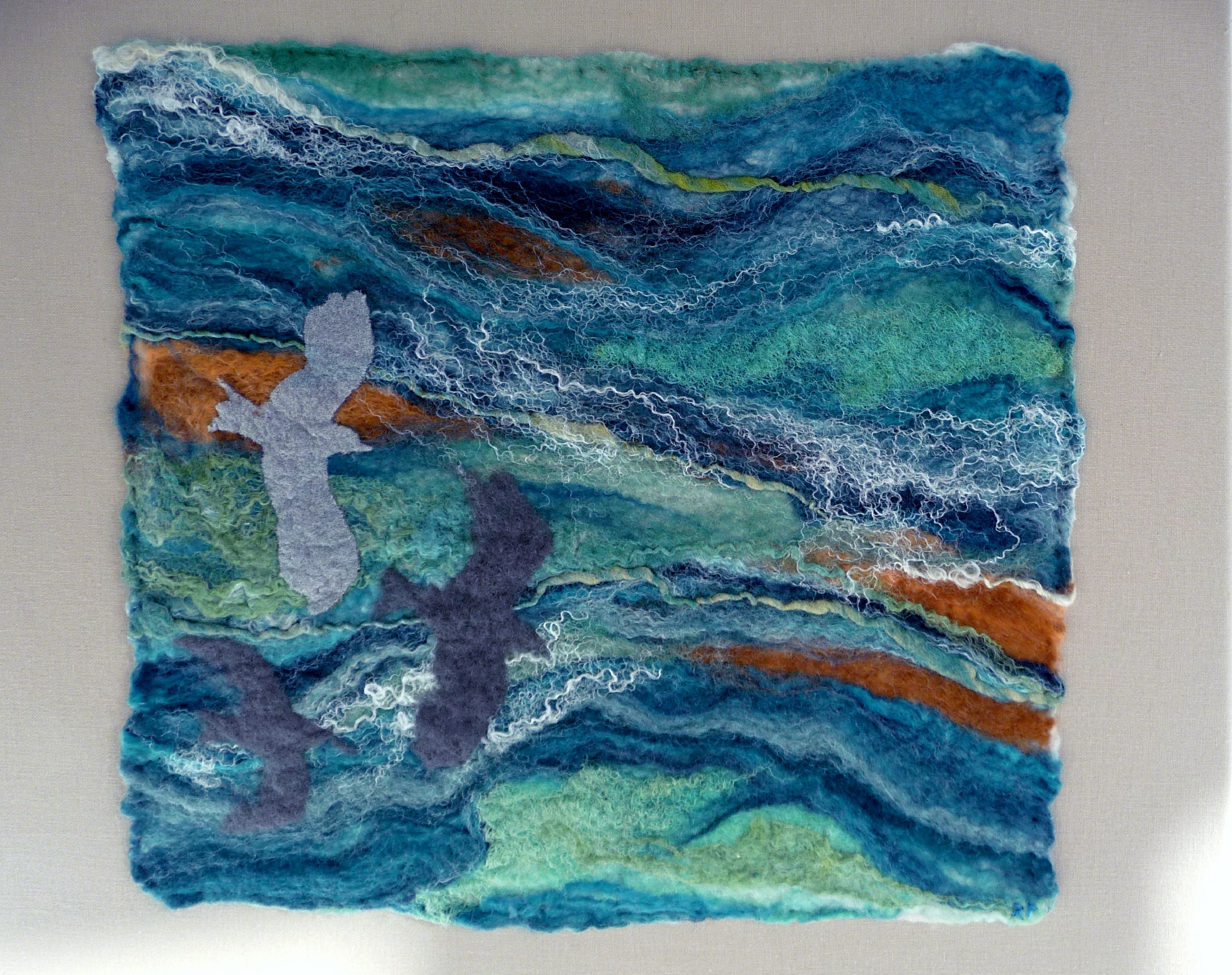 OVER AZURE SEAS 2 by Rosey  Paul, hand-felted textile