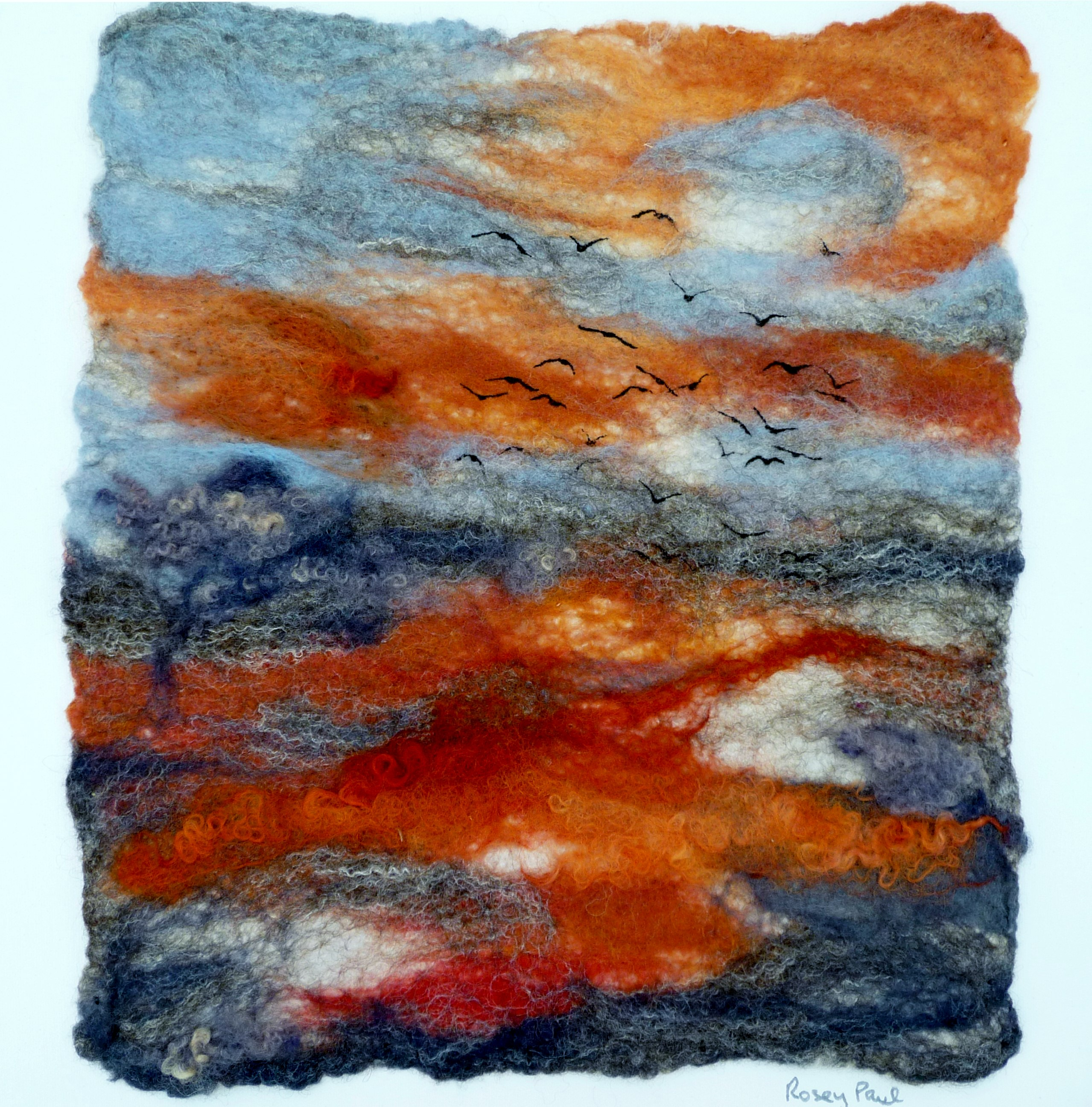 SUNSET FLIGHT 1 by Rosey  Paul, hand-felted textile