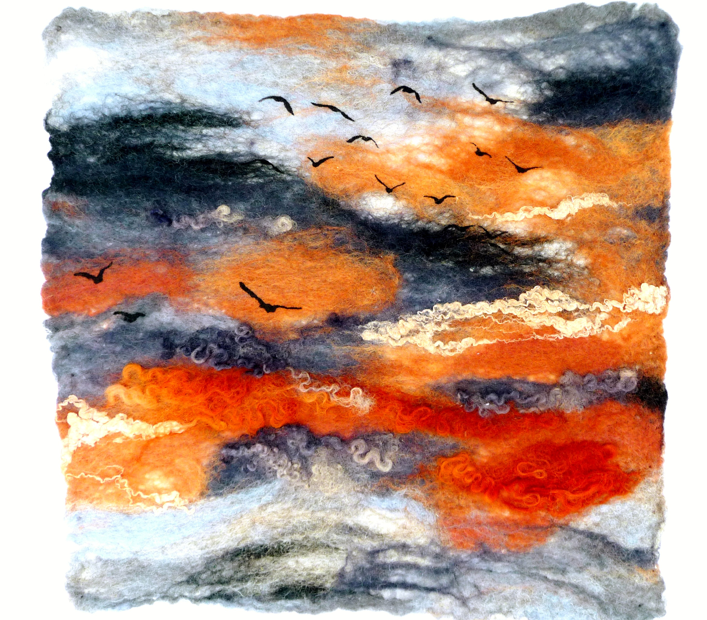 SUNSET FLIGHT 2 by Rosey  Paul, hand-felted textile