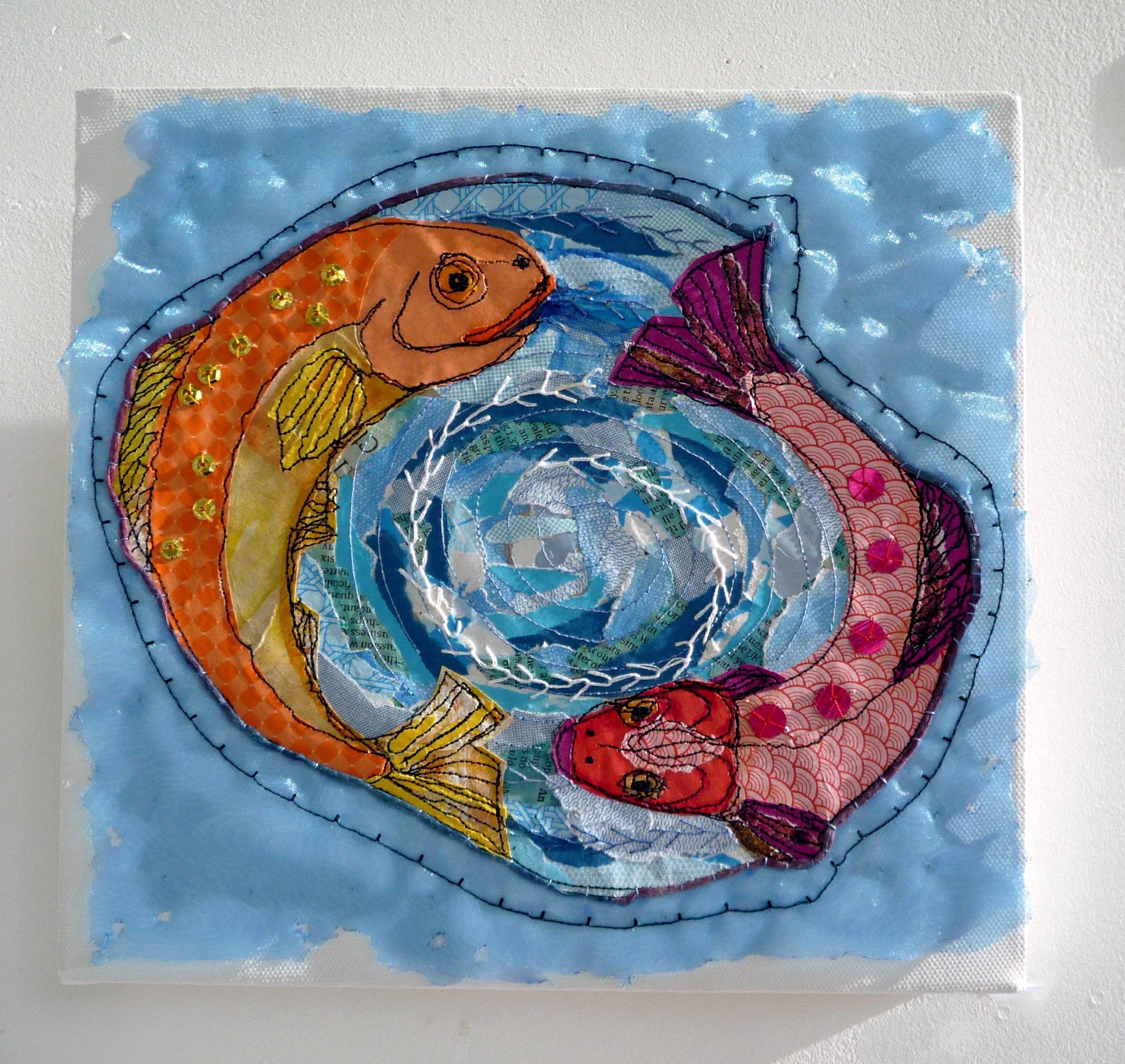 FISH GET THE STITCH by Sue Boardman, stitched paper