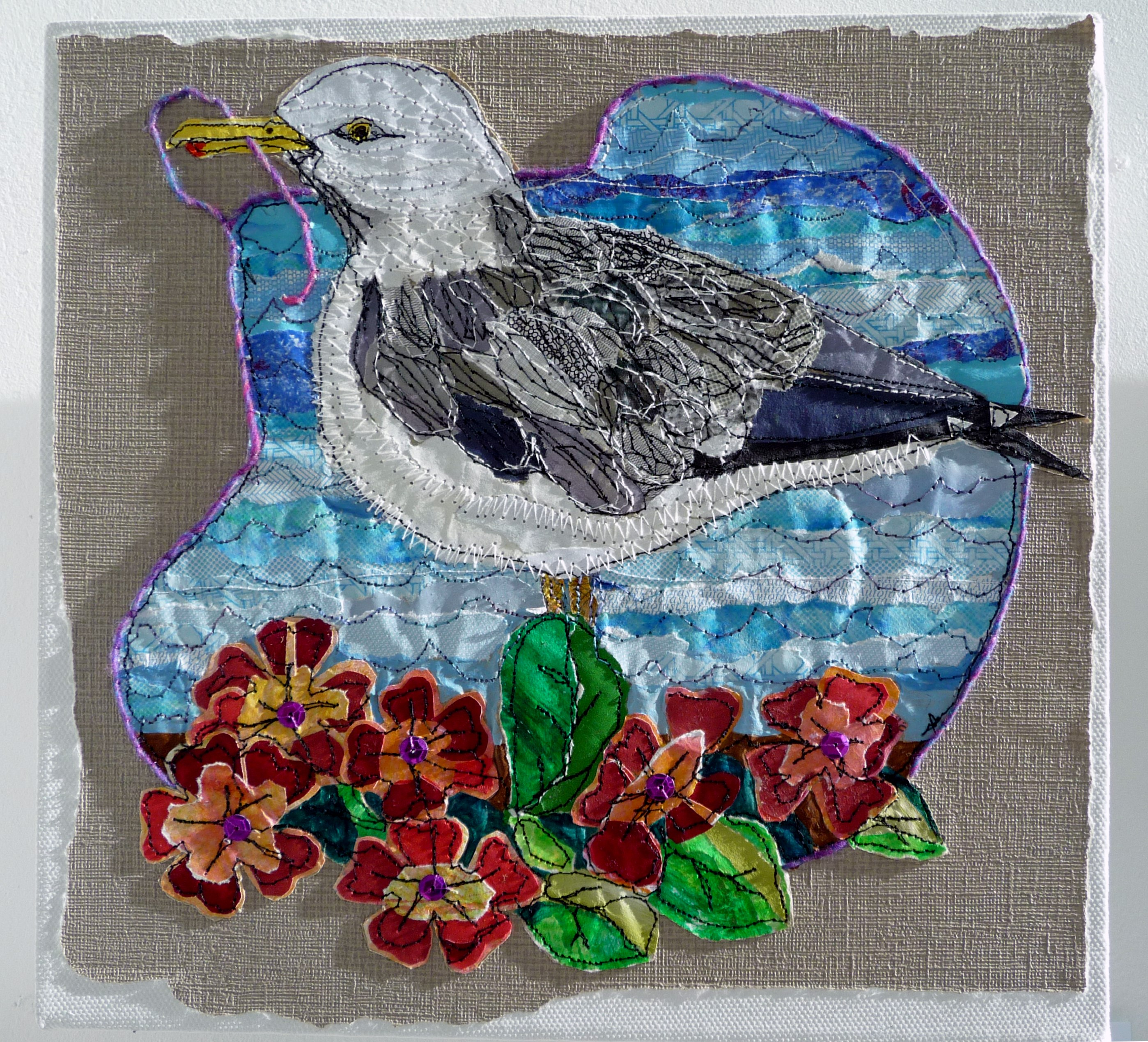 SEAGULL LEARNS TO SEW by Sue Boardman, stitched paper