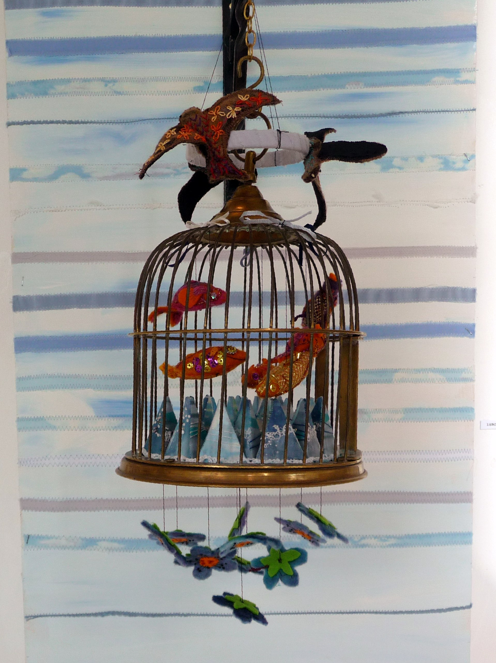 BIRD CAGE by Sue Boardman, brass and textile