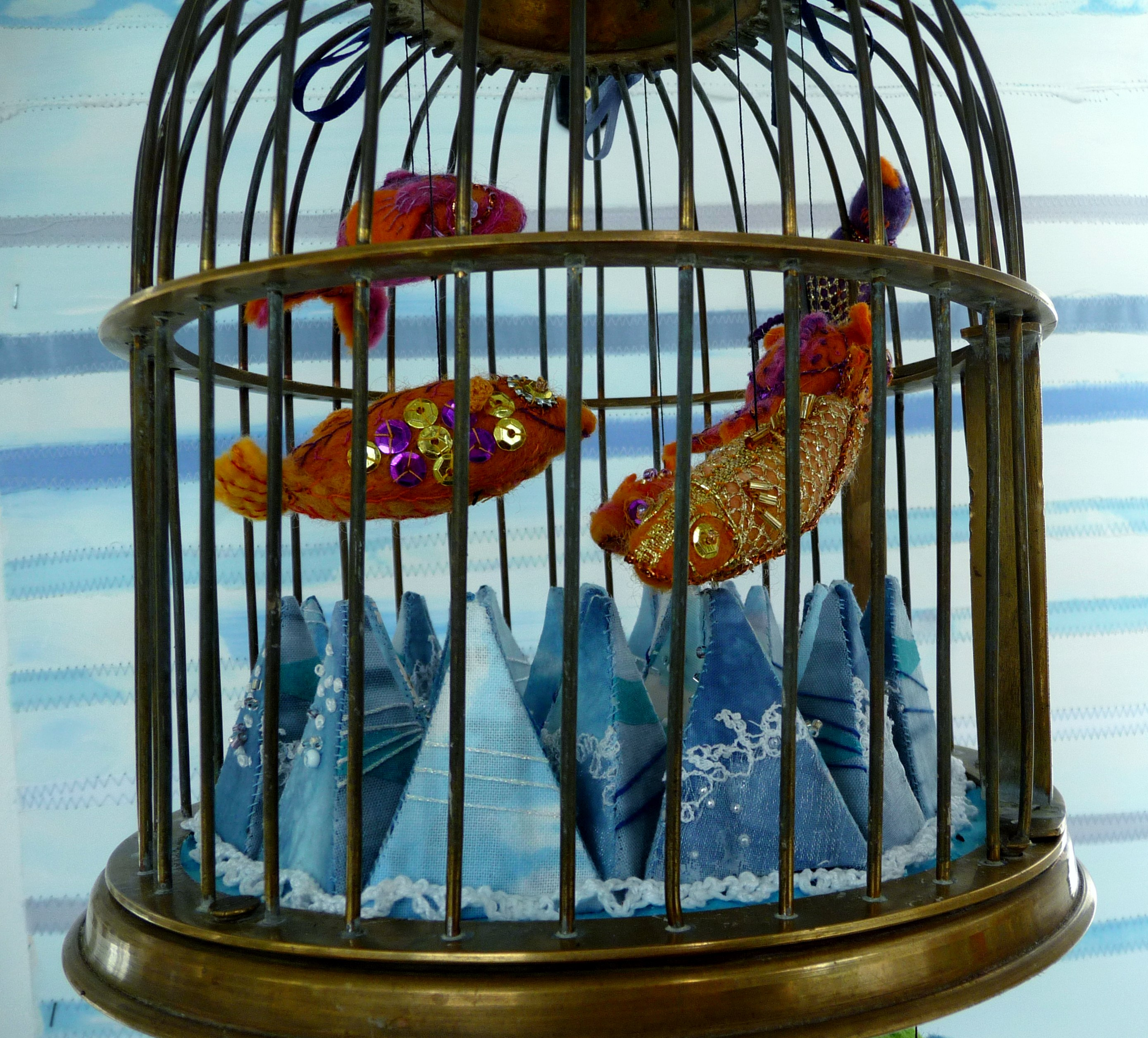 (detail) BIRD CAGE by Sue Boardman, brass and textile