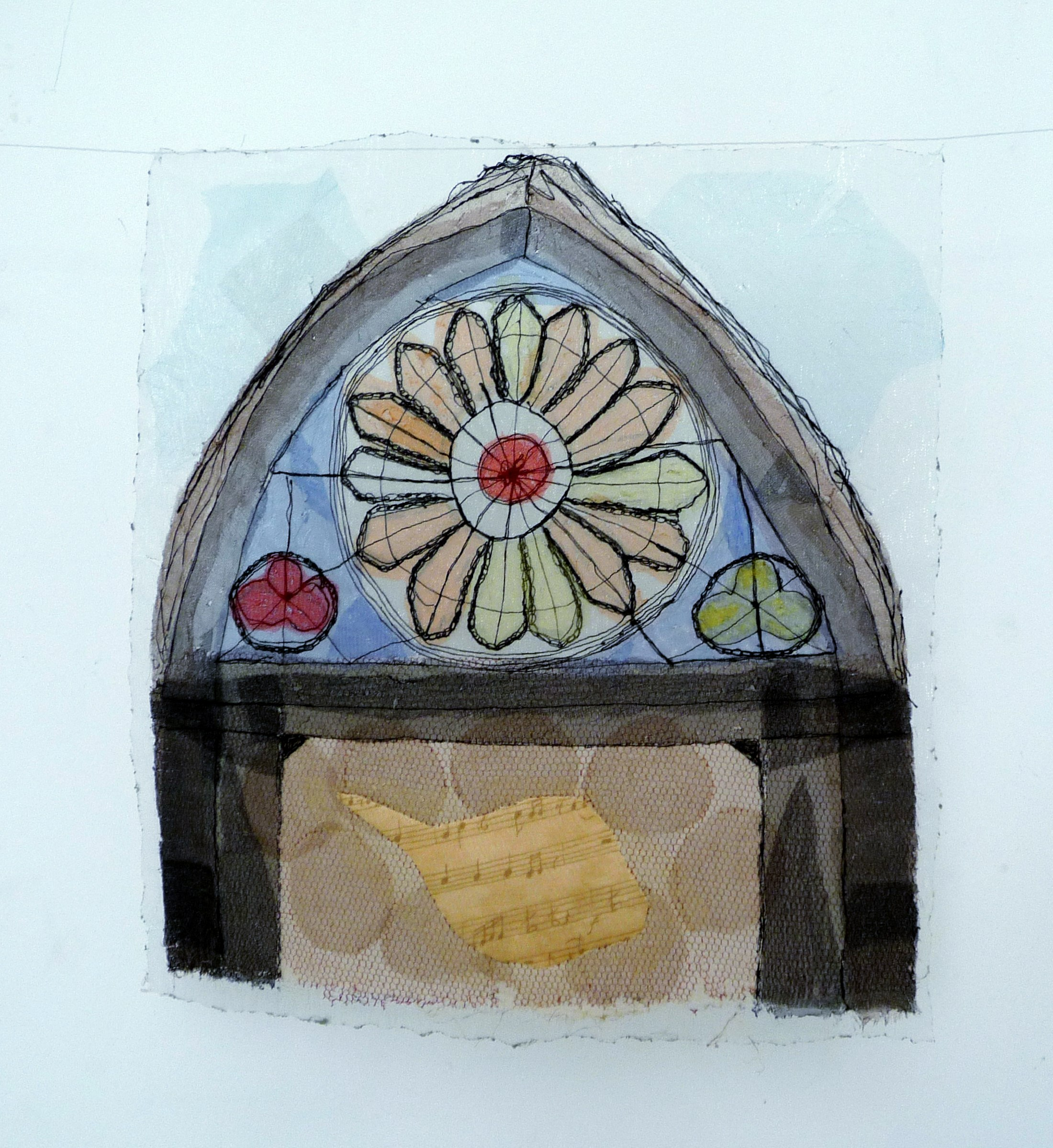 STAINED WINDOW by Yvonne Deegan, soldering and hand embroidery