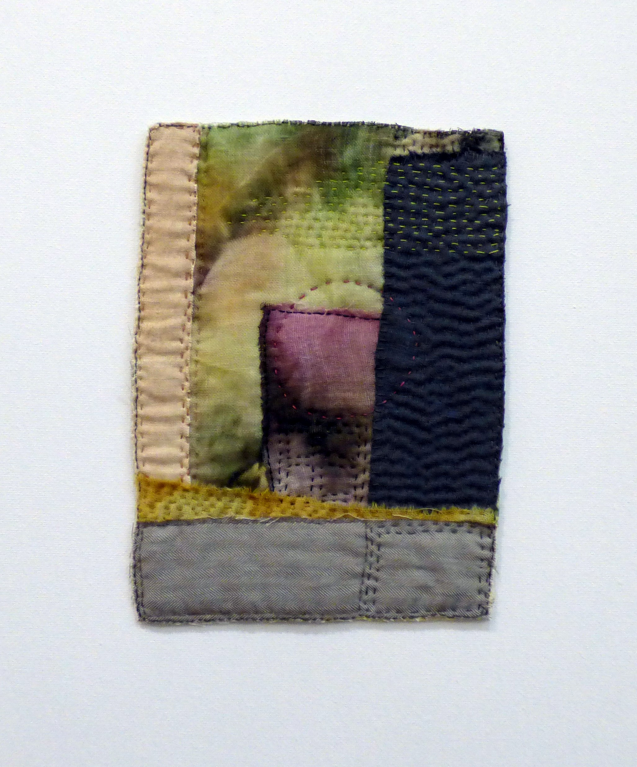 KIRKDALE GOOGLE EARTH TRIPTYCH 1, by Liz Smith, Glossop & District EG, re-purposed and hand dyed fabric, hand stitching