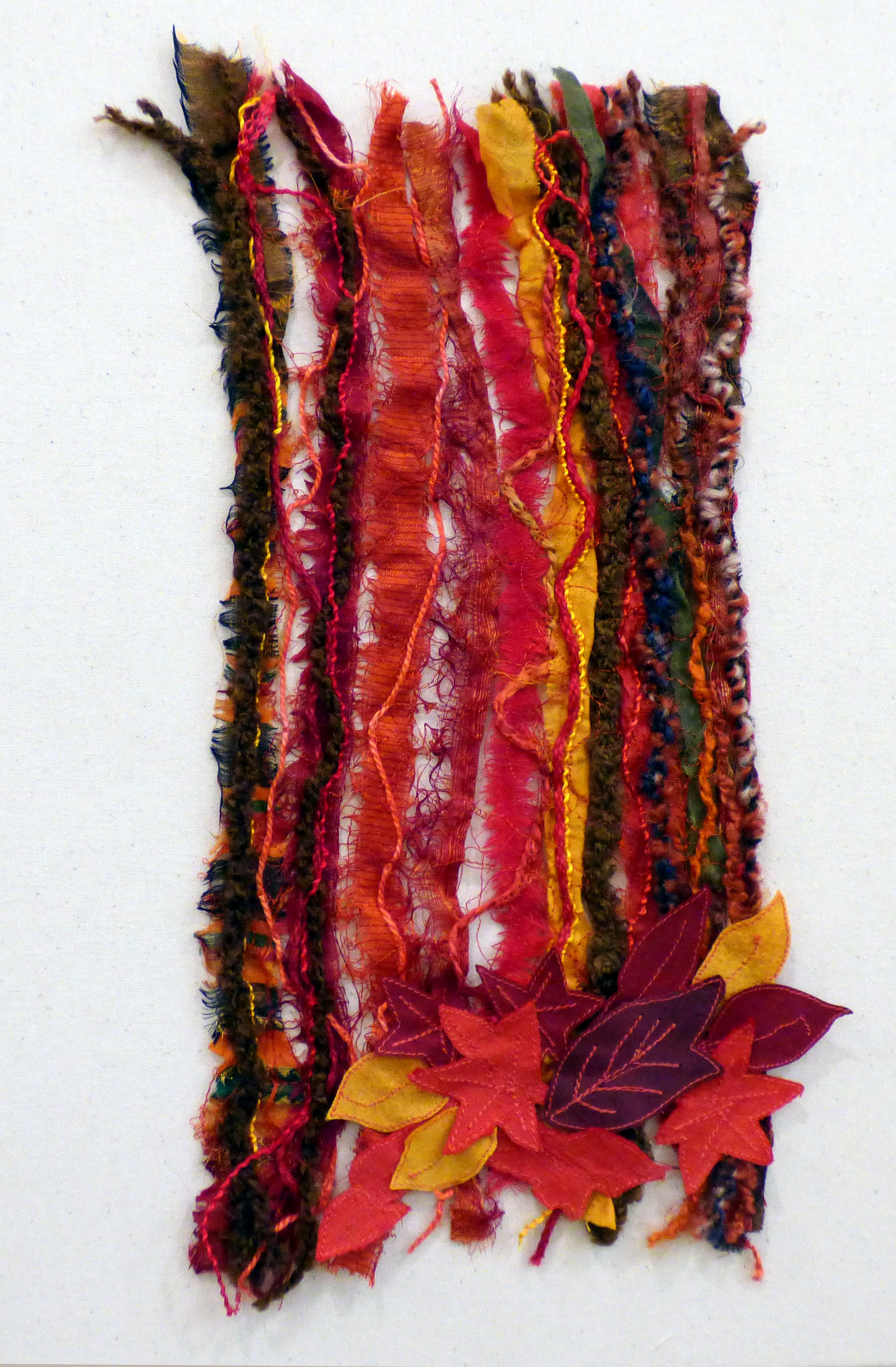 TREES AND LEAVES: AUTUMN by Carol Condliffe, Macclesfield & District EG, machine stitching and couching