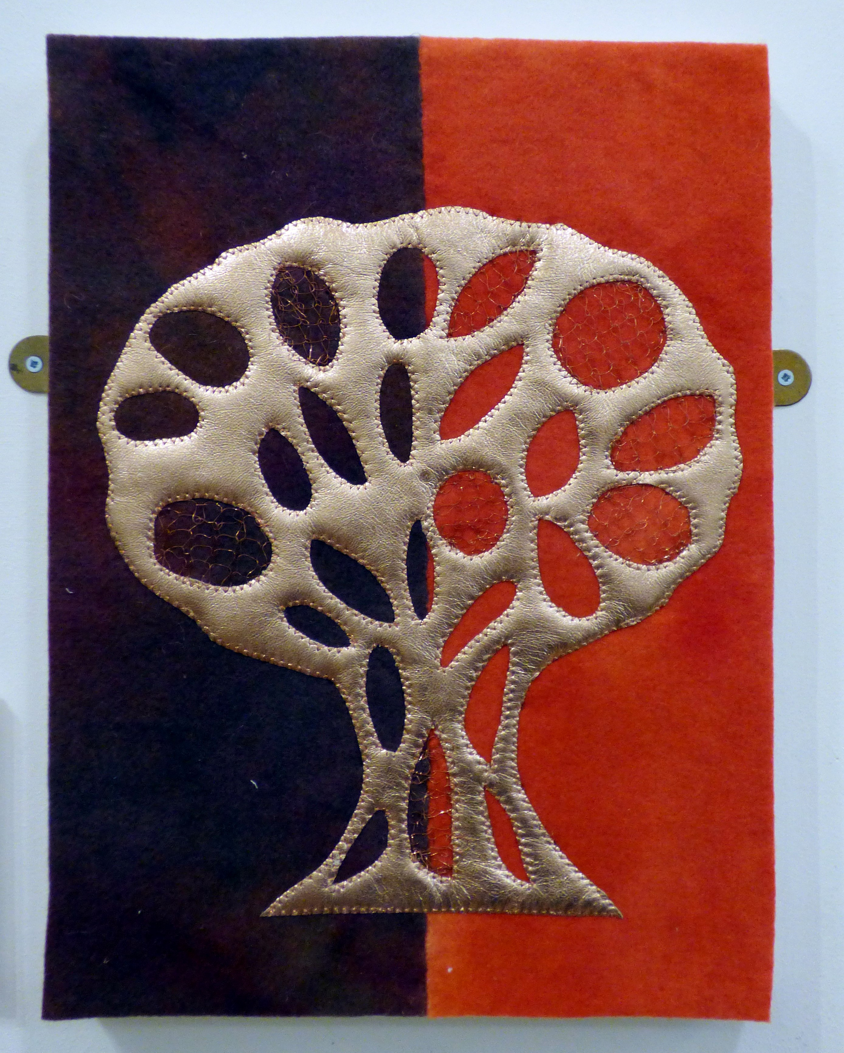 COPPER BEECH by Barbara Meeke, Chesterfield EG, leather and wire on felt