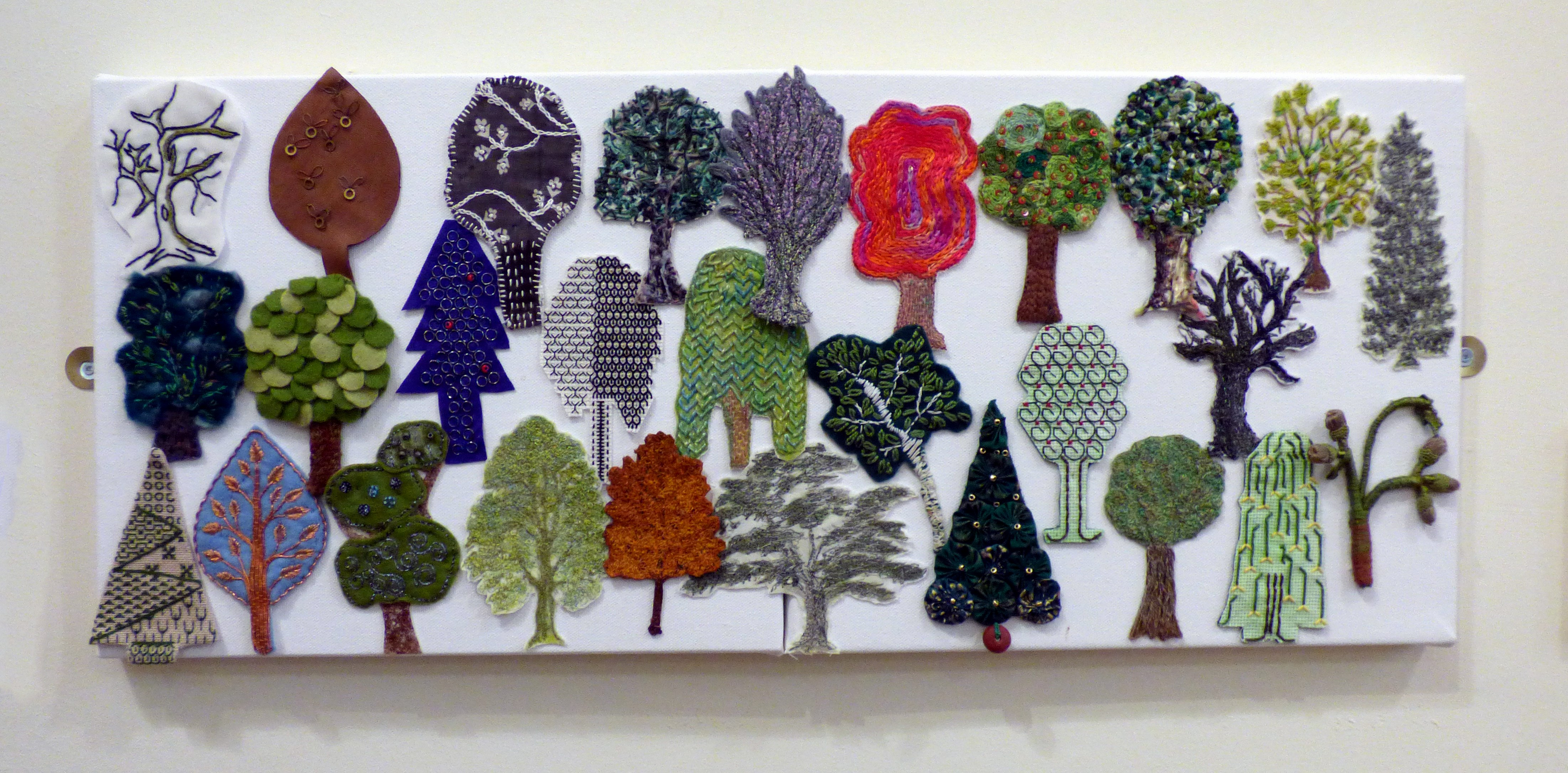 A SYLVAN EXTRAVAGANZA, Group Project by Chesterfield EG, 28 embroidered trees