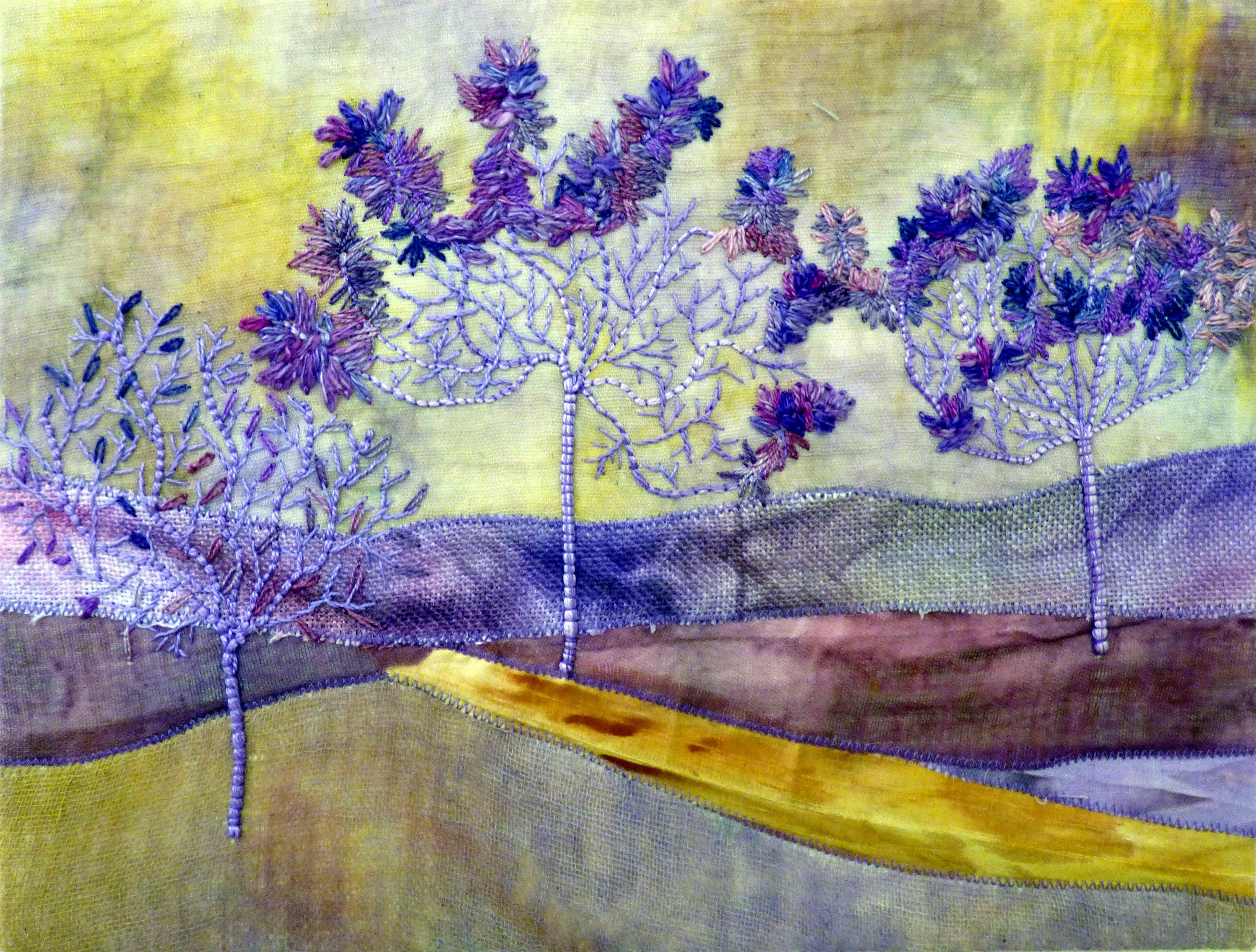 PURPLE DUSK by Christine Bardsley, Glossop & District EG, hand dyed fabric, machine stitching and hand stitching