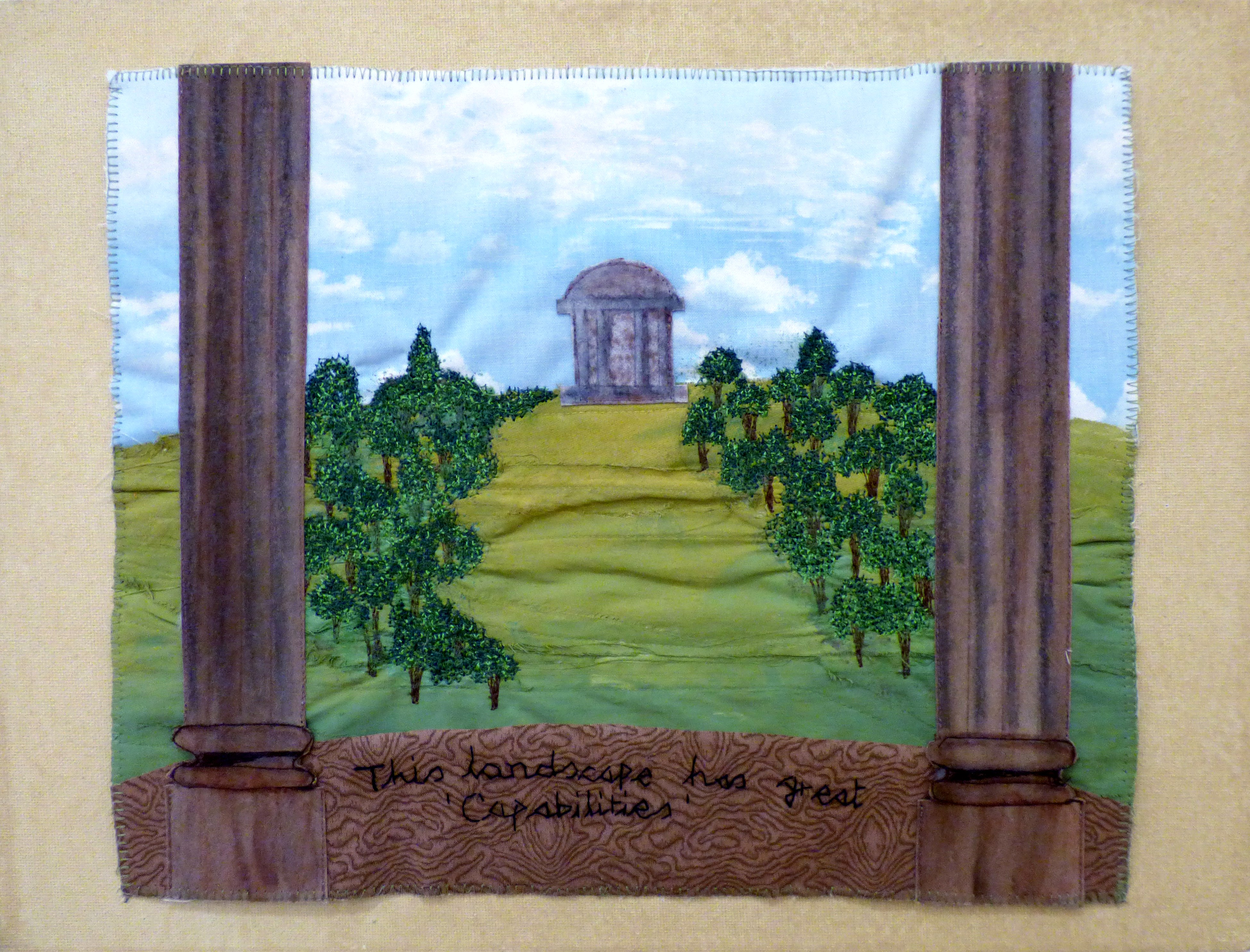 A CAPABILITY BROWN LANDSCAPE by Christina Harris, Glossop & Distrist EG, machine and hand embroidery on painted cotton