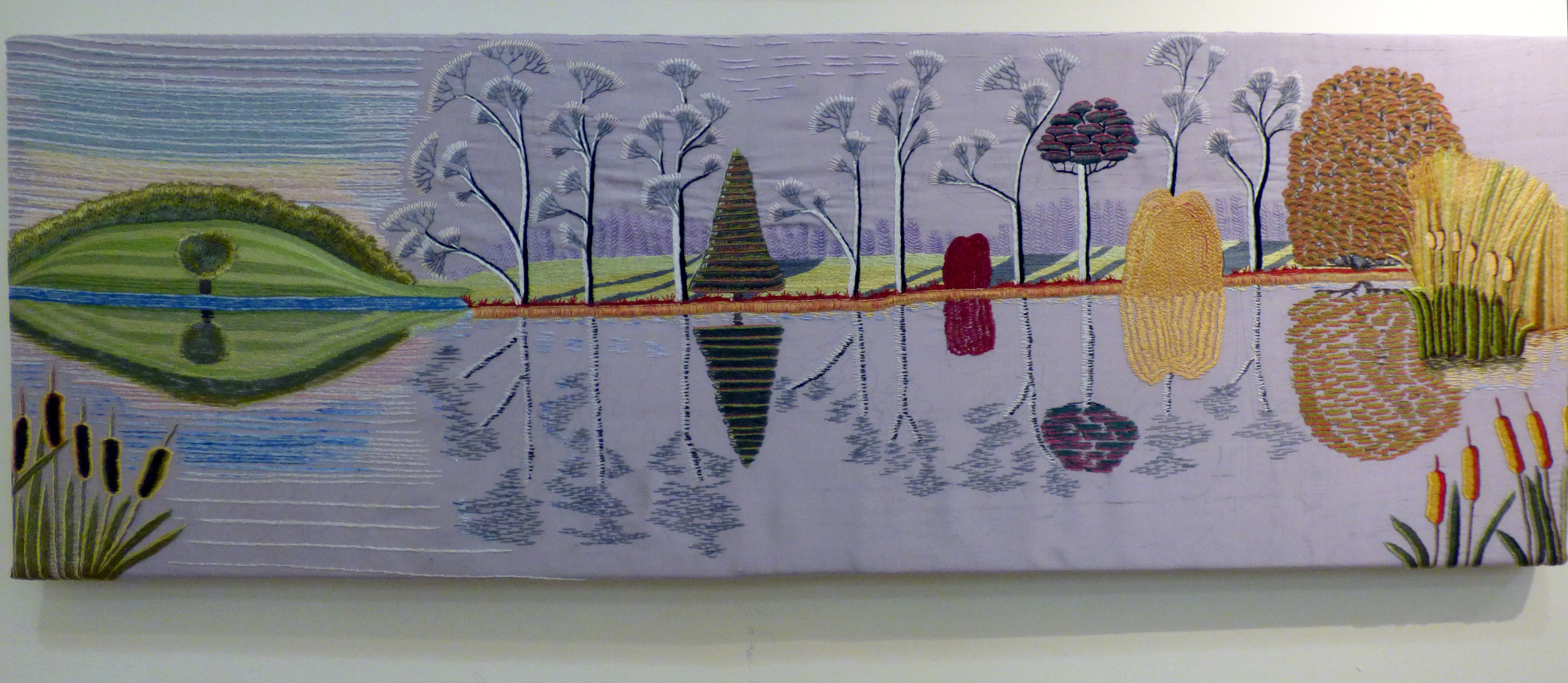 LAKESIDE by Valerie Grant, Glossop & District EG, hand embroidery with silk threads on silk dupion