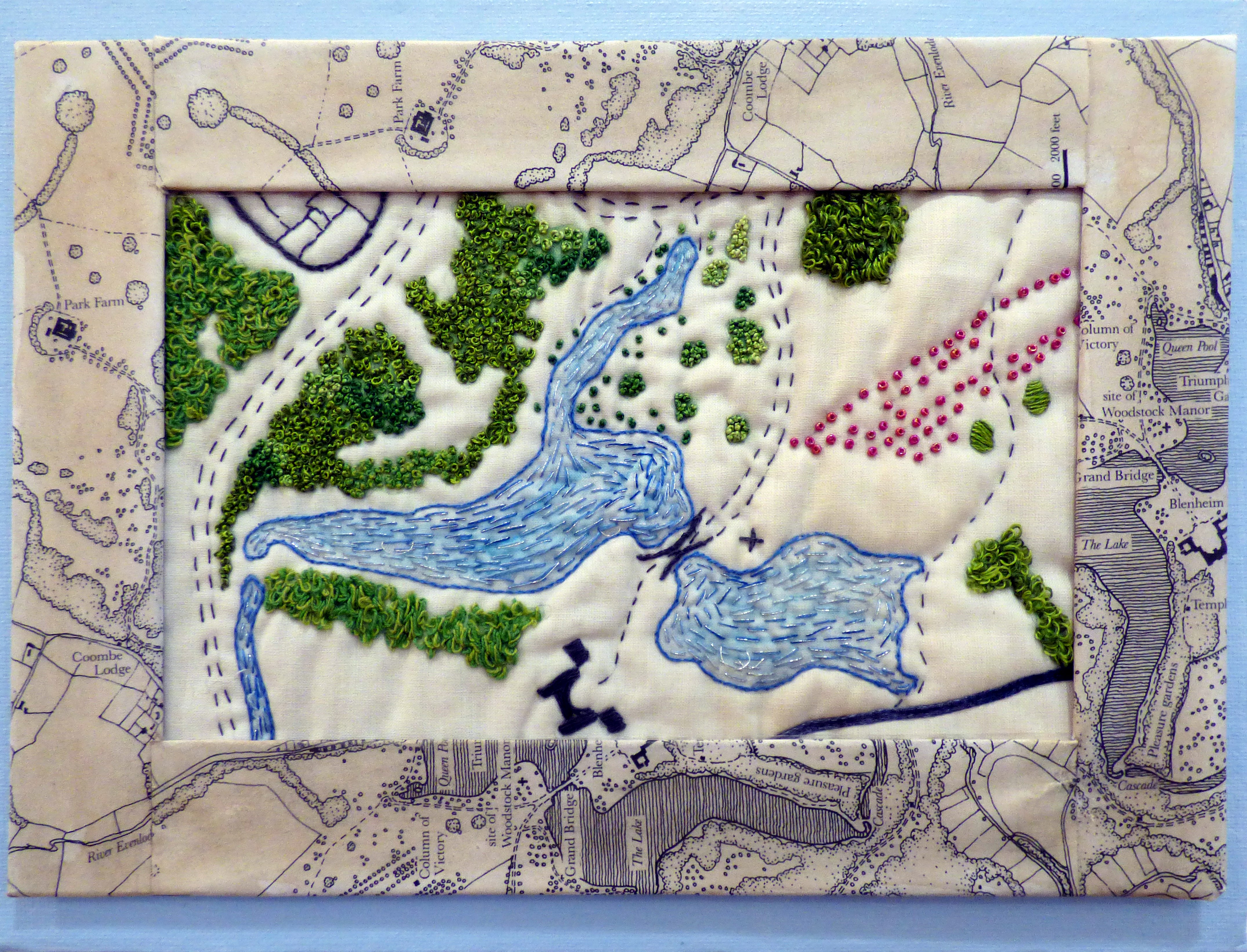 BLENHEIM PALACE by Christina Harris, Glossop & District EG, Capability Brown's plan of the park 1764 - 1773, hand embroidery