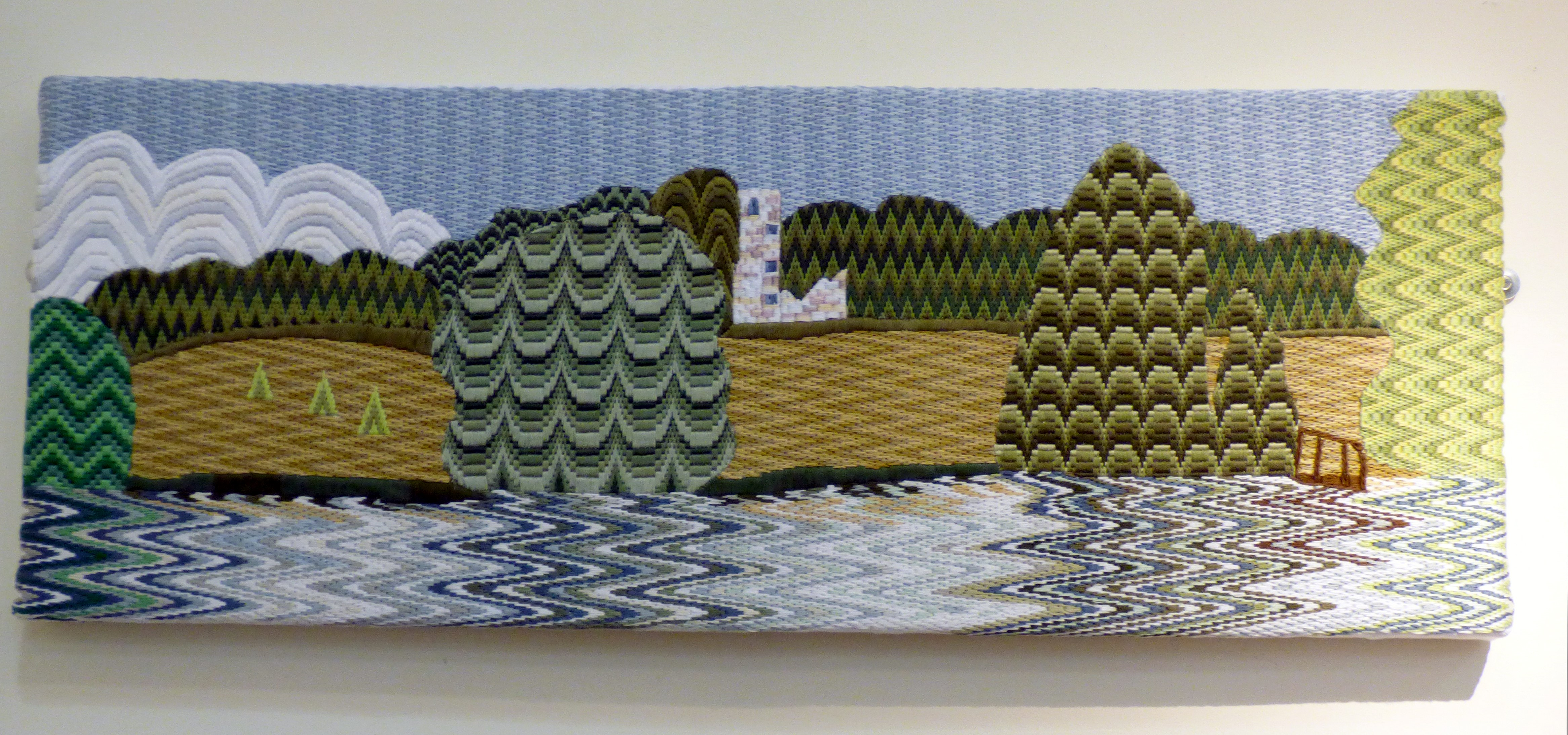 BARGELLO FOLLY by Valerie Grant, Glossop & District EG, hand embroidery on Hardanger cloth
