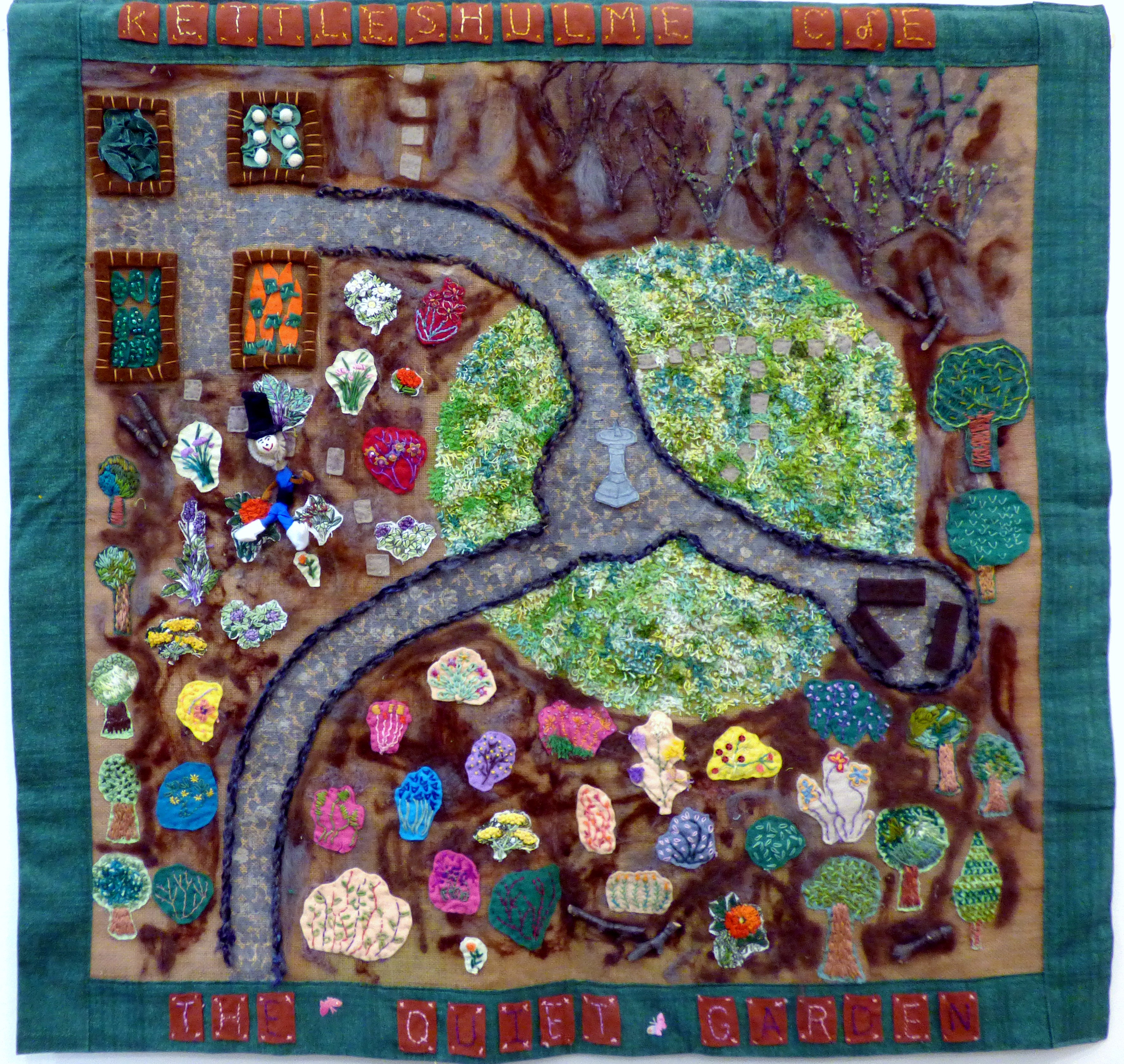 KETTLESHULME SCHOOL GARDEN, Group Project by a school sewing group led by members of Macclesfield Embroiderers' Guild