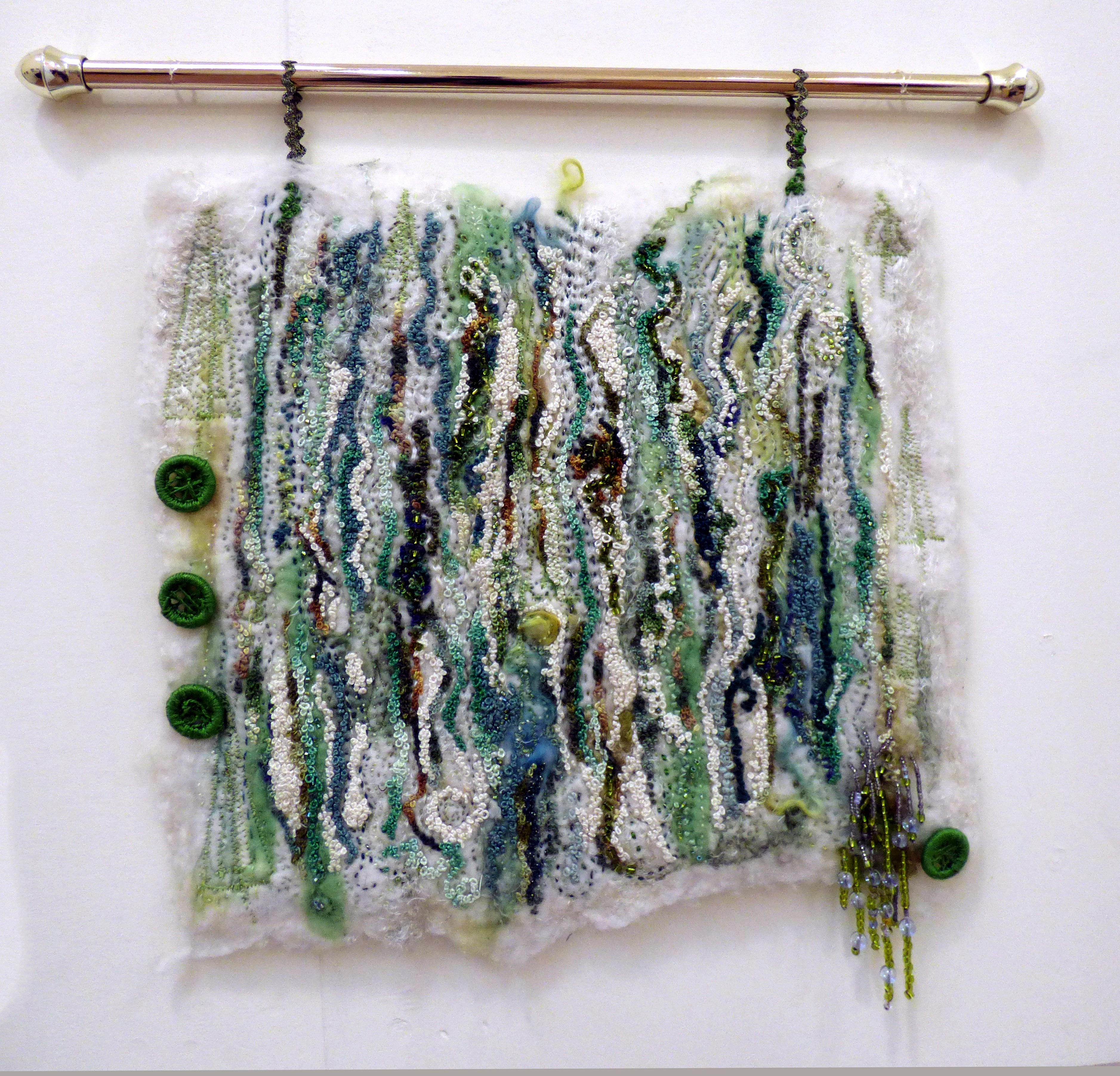 GARDENS-A BIRD'S EYE VIEW by Catherine Leighton, Macclesfield & district EG, hand stitched on handfelted wool tops