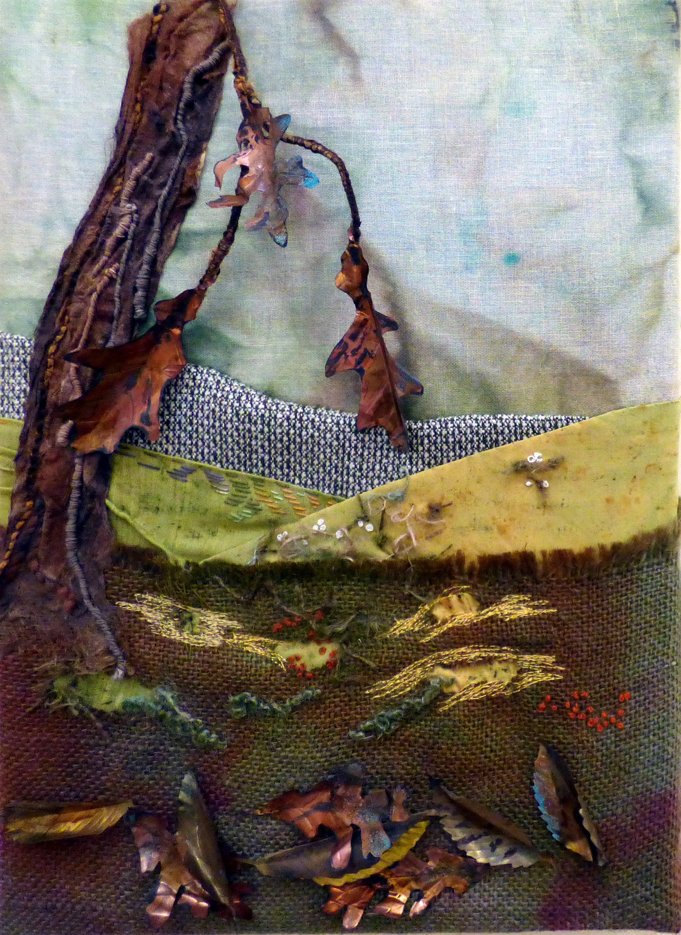 AN OUTSTANDING COUNTRY ESTATE by Judi Brown, Glossop & District EG, hand and machine stitch, silk paper, metal shim