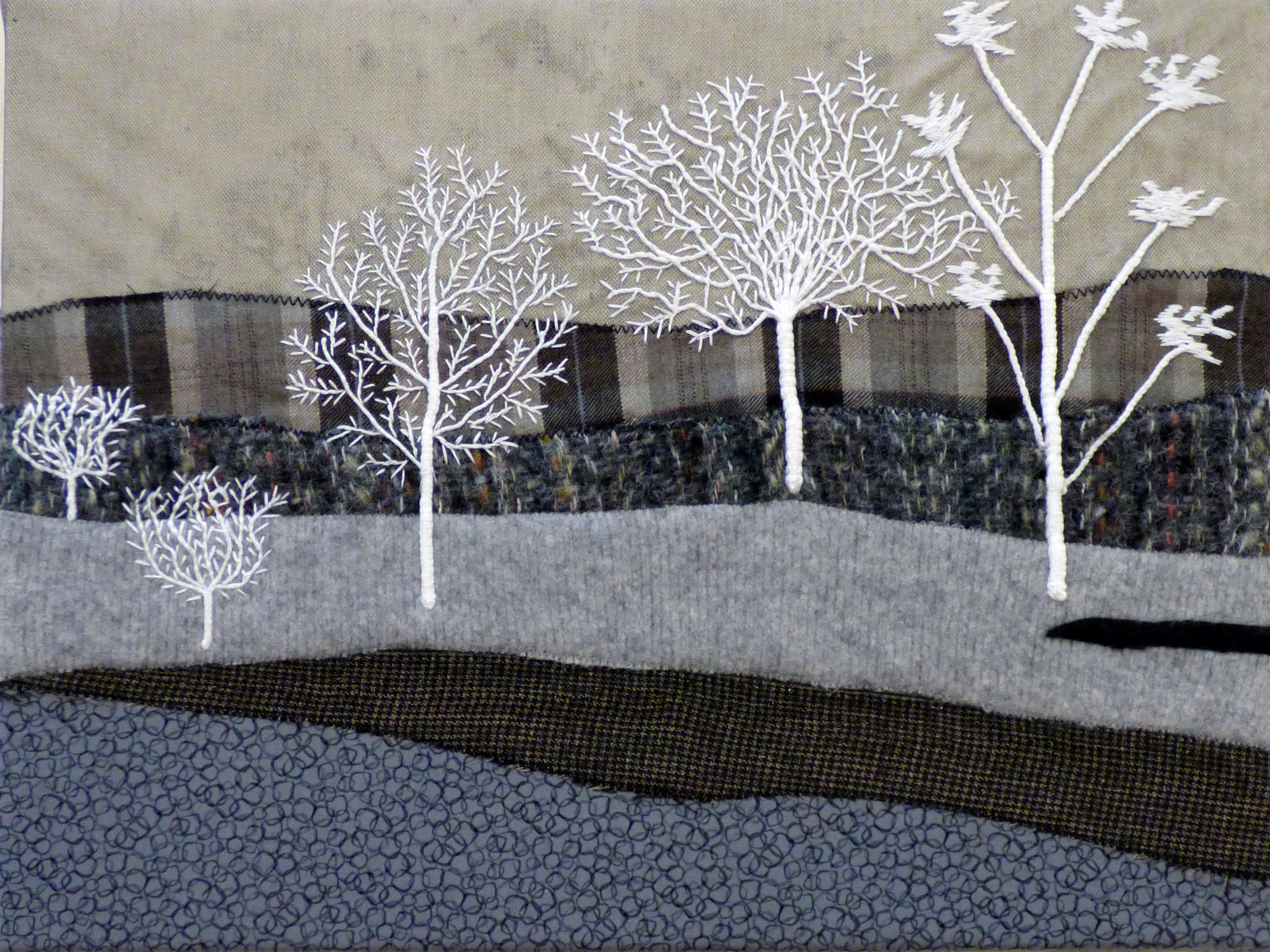 WHITE TREES AT MIDNIGHT by Christine Bardsley, Glossop & District EG, white thread couched tree trunks and branches on a textured background