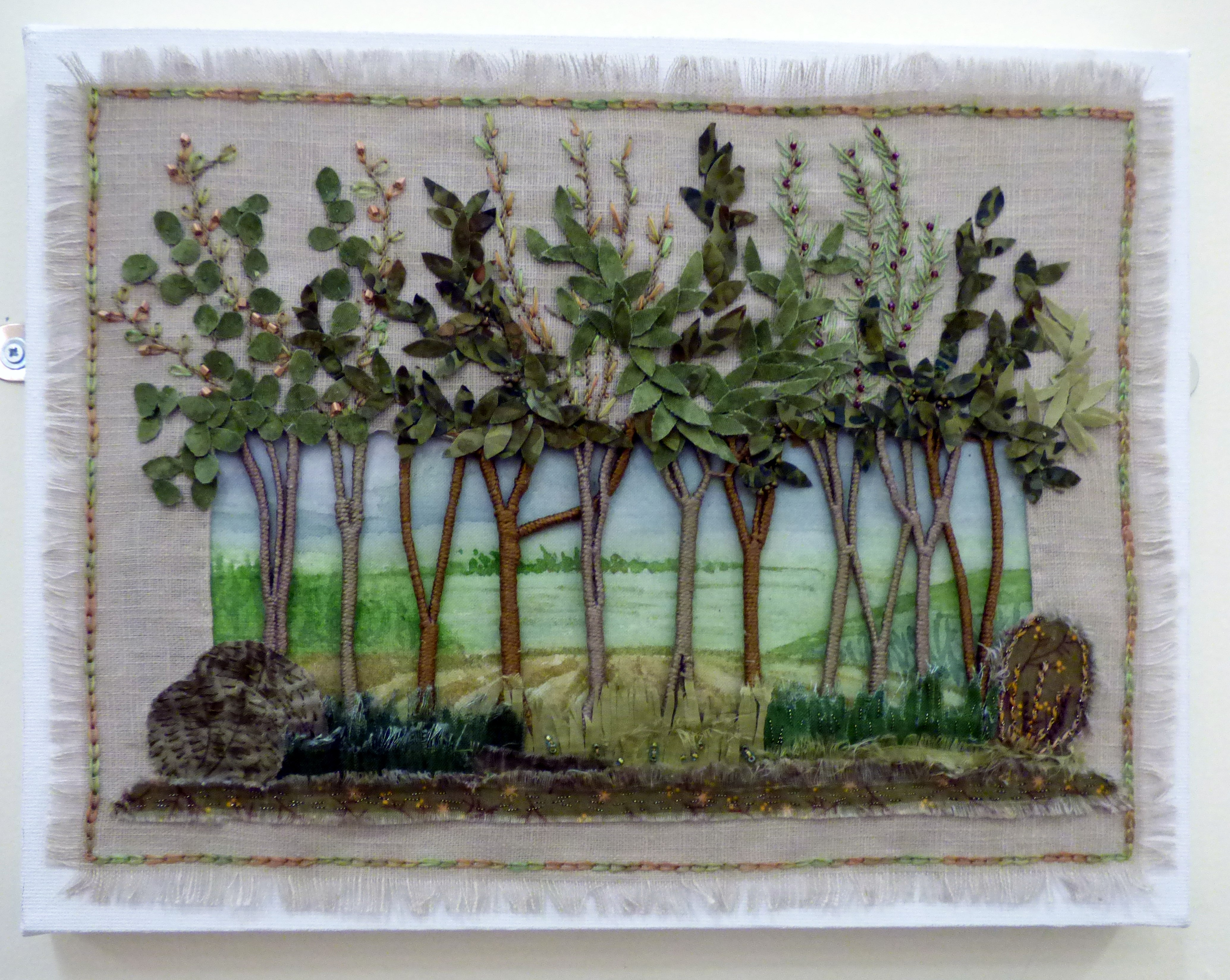 THROUGH THE TREES by Pam Hayes, Macclesfield & District EG, applique with hand embroidery and beads