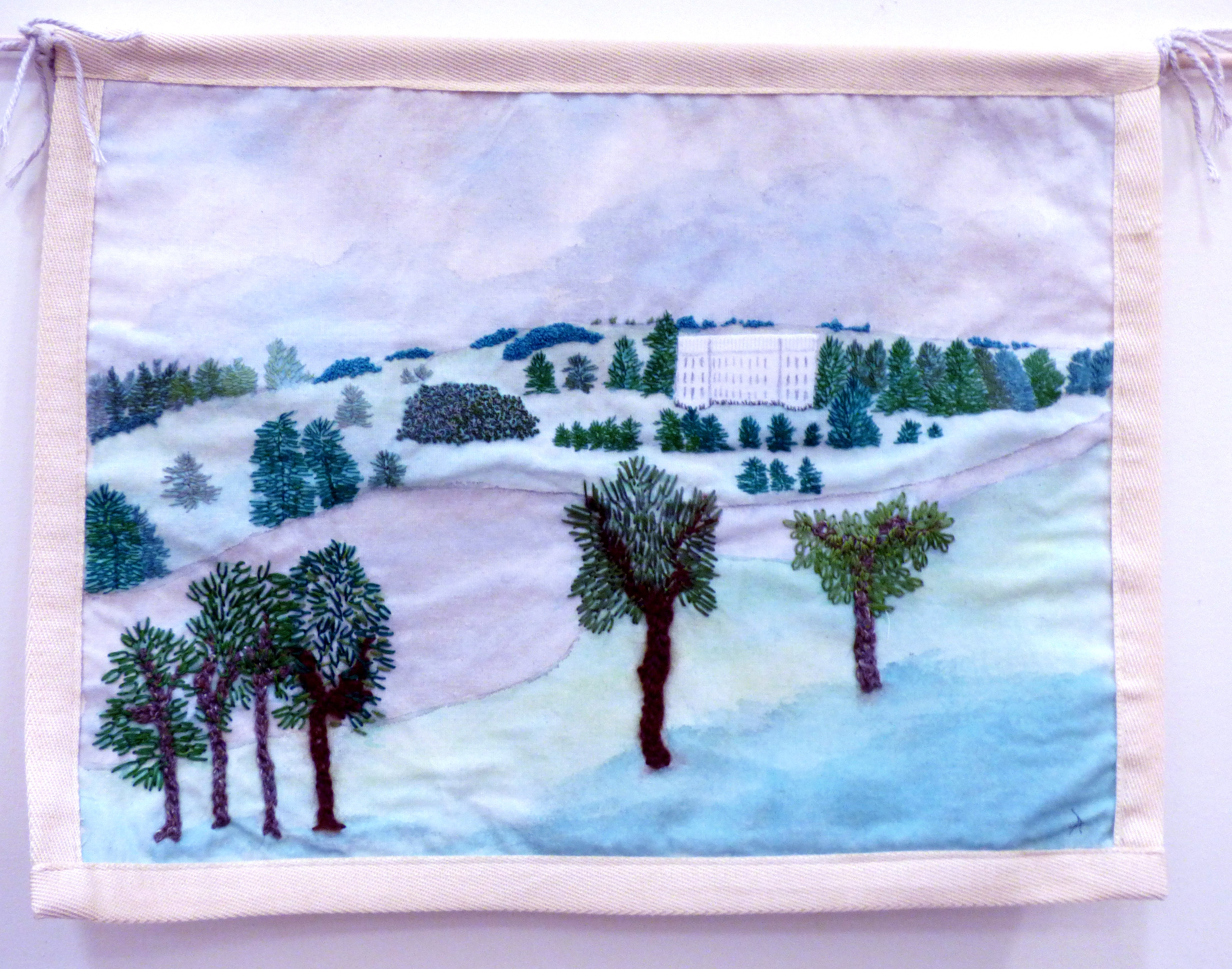 CAPABILITY BROWN'S SKETCH OF HIS PLAN FOR TRENTHAM GARDENS by Ann Holmes, Macclesfield & District EG, hand stitched on painted calico background