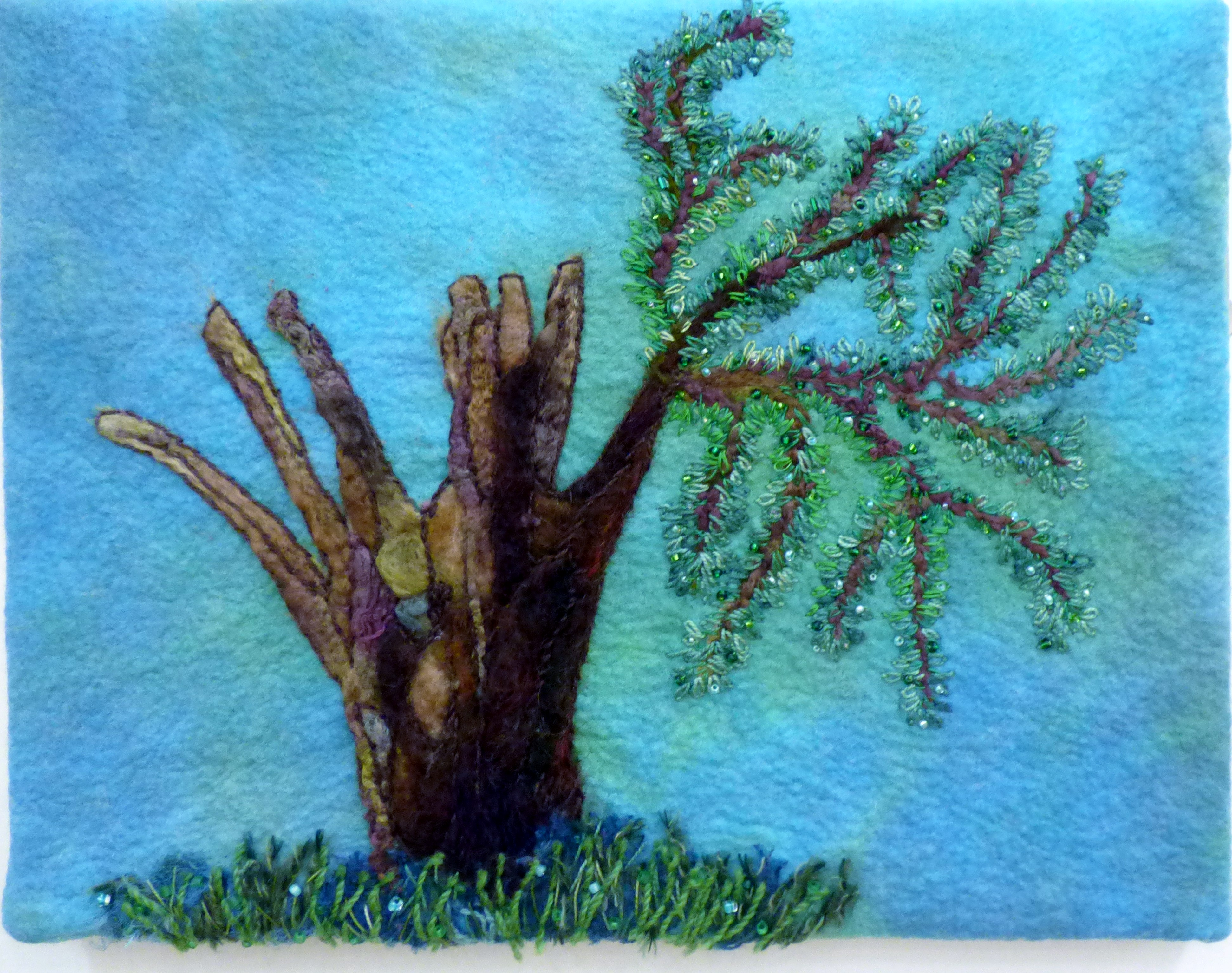 SURVIVAL by Jenny Baker, Macclesfield & District EG, needlefelting and hand embroidery