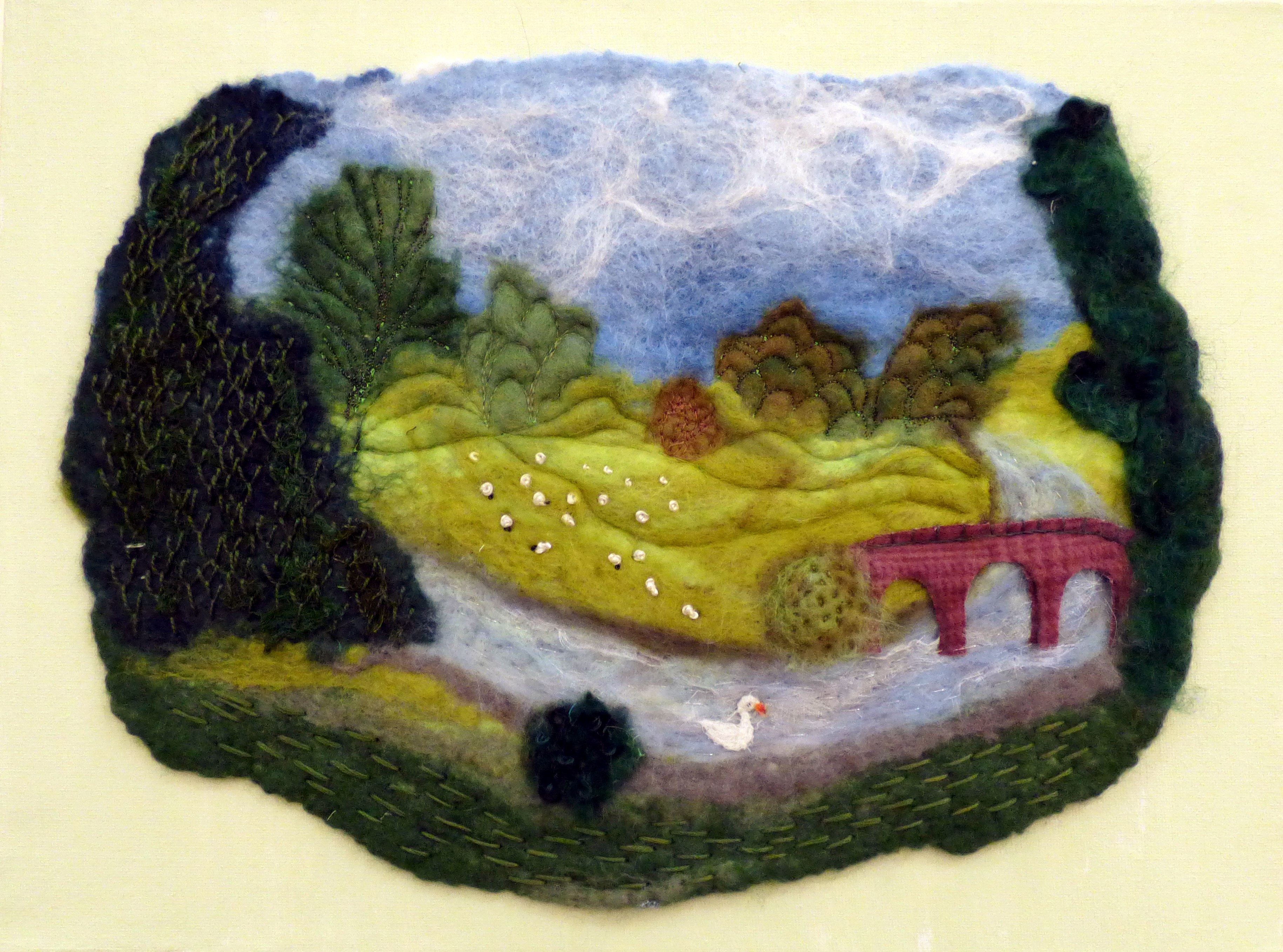 CHATSWORTH by Christina Harris, Glossop & District EG, hand felted piece with add hand stitch
