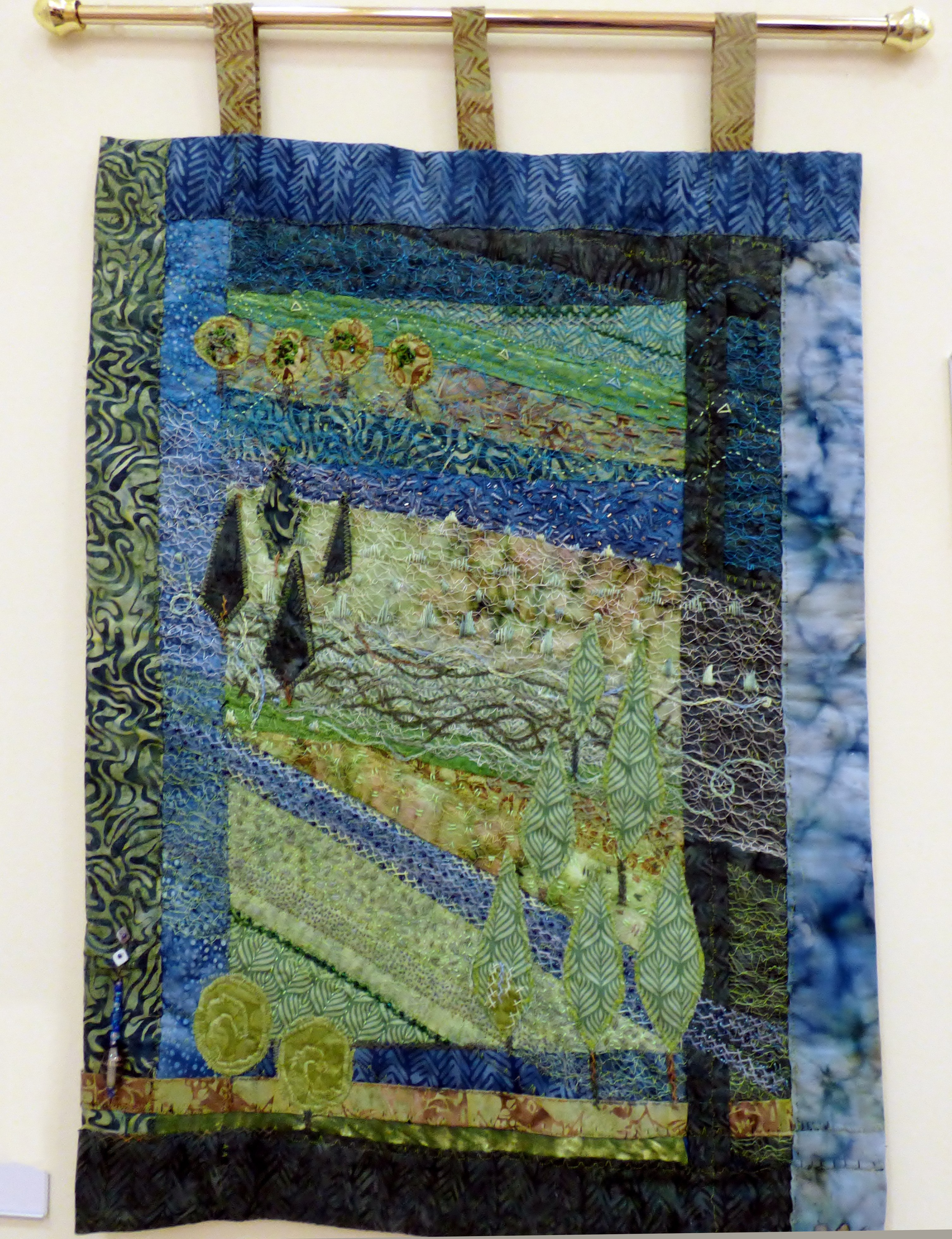 LOOKING IN THE GARDENS by Catherine Leighton, Macclesfield & District EG, strip quilting with applique trees, hand and machine embroidery & beads
