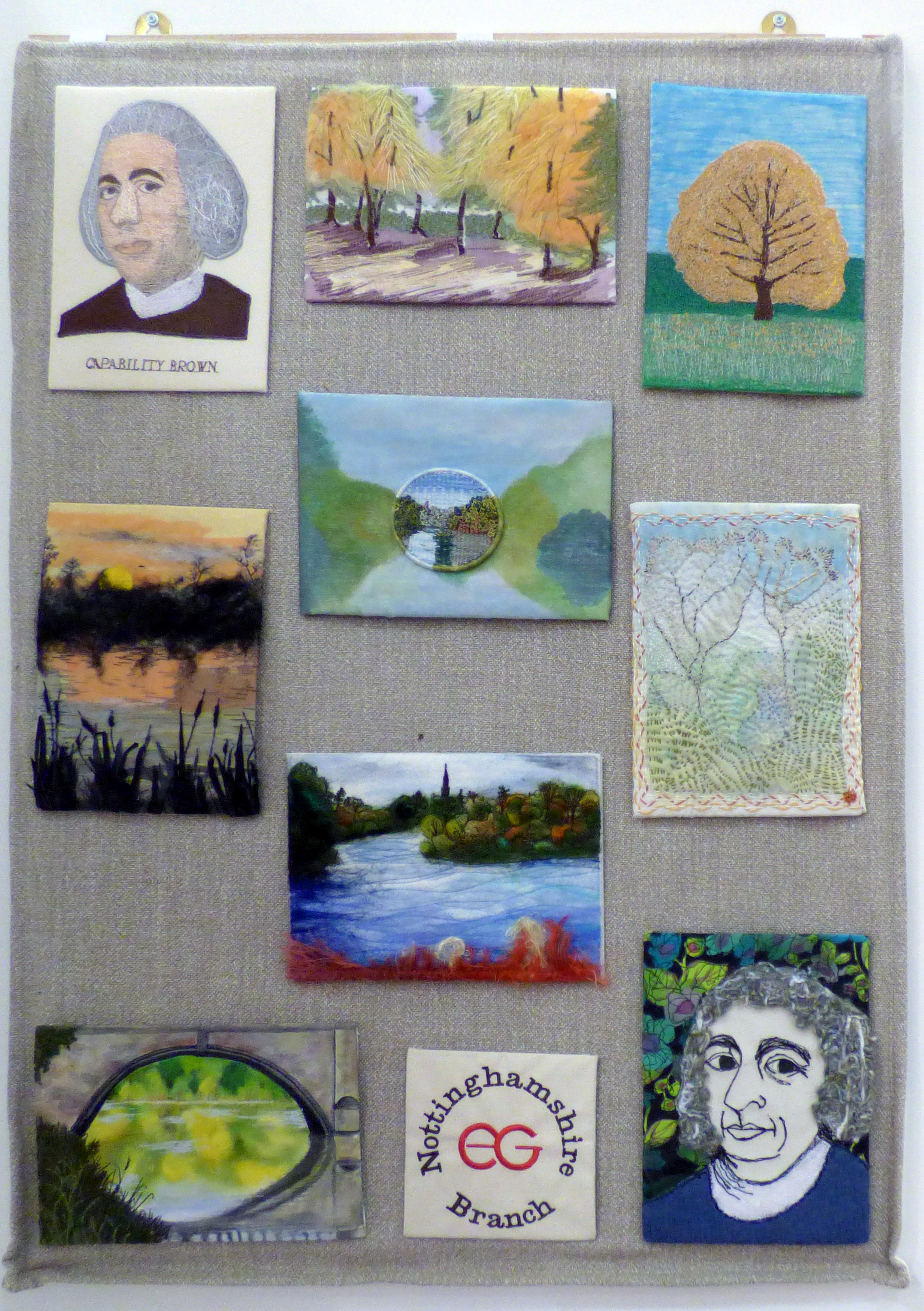INSPIRED BY CAPABILITY BROWN AND CLUMBER PARK, a Group Project by Nottinghamshire EG, hand and machine embroidery, applique and fabric painting
