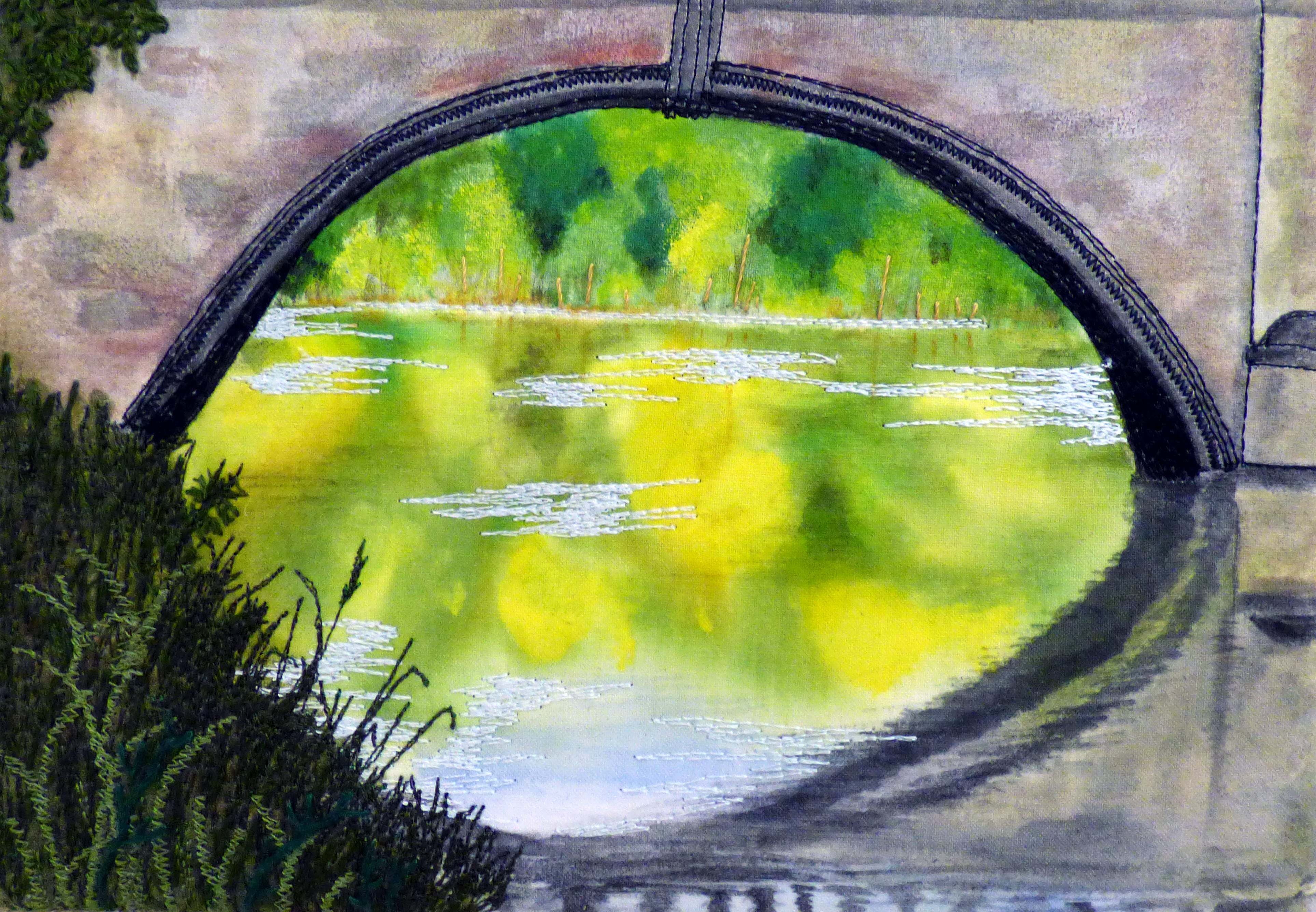 UNDER THE BRIDGE by Eileen Tilley, detail of INSPIRED BY CAPABILITY BROWN AND CLUMBER PARK, a Group Project by Nottinghamshire EG, hand and machine embroidery, applique and fabric painting
