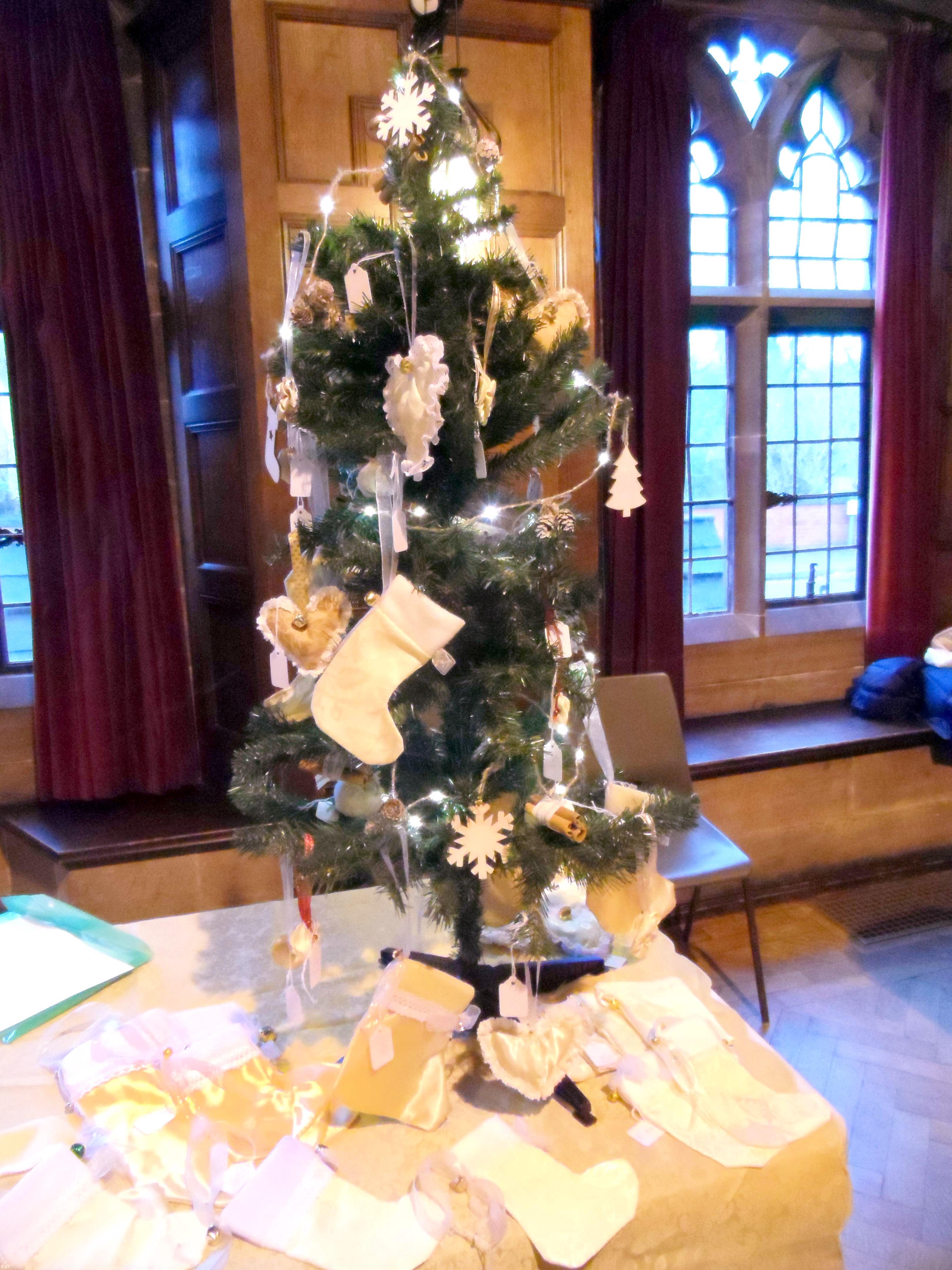 Christmas tree with Christmas stockings at Christmas Fun Day 2018