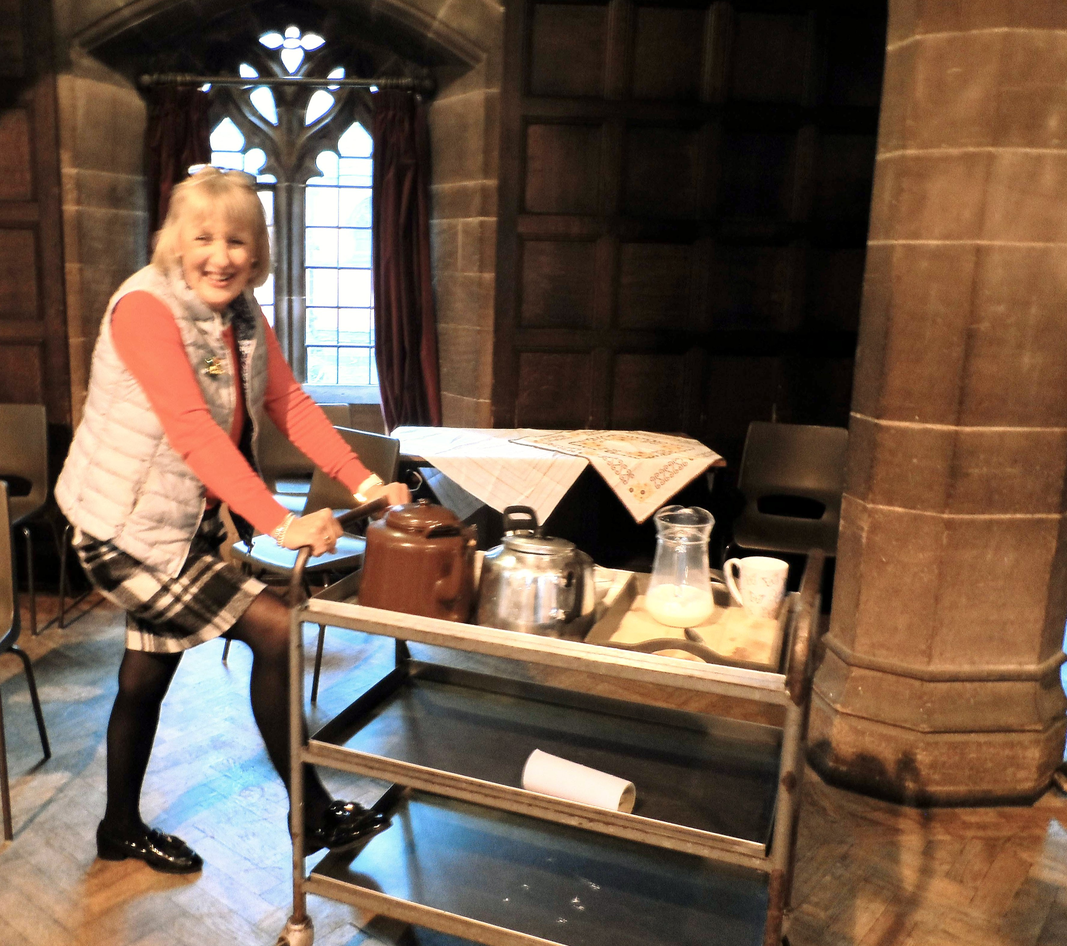 Olive with a tea trolley for the workers, Christmas Fun Day 2018