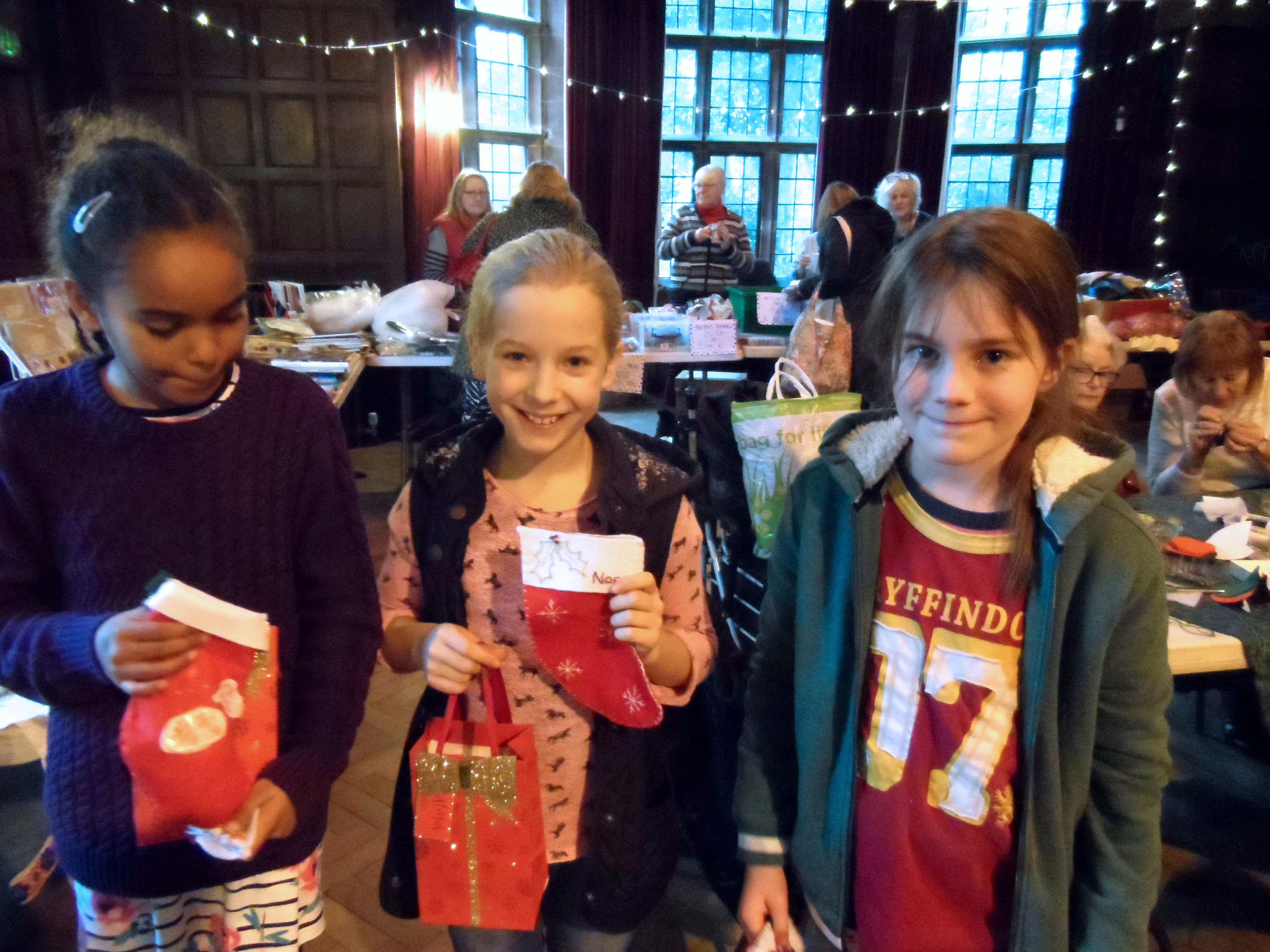 Some of our Young Embroiderers with their Christmas presents, Christmas Fun Day 2018