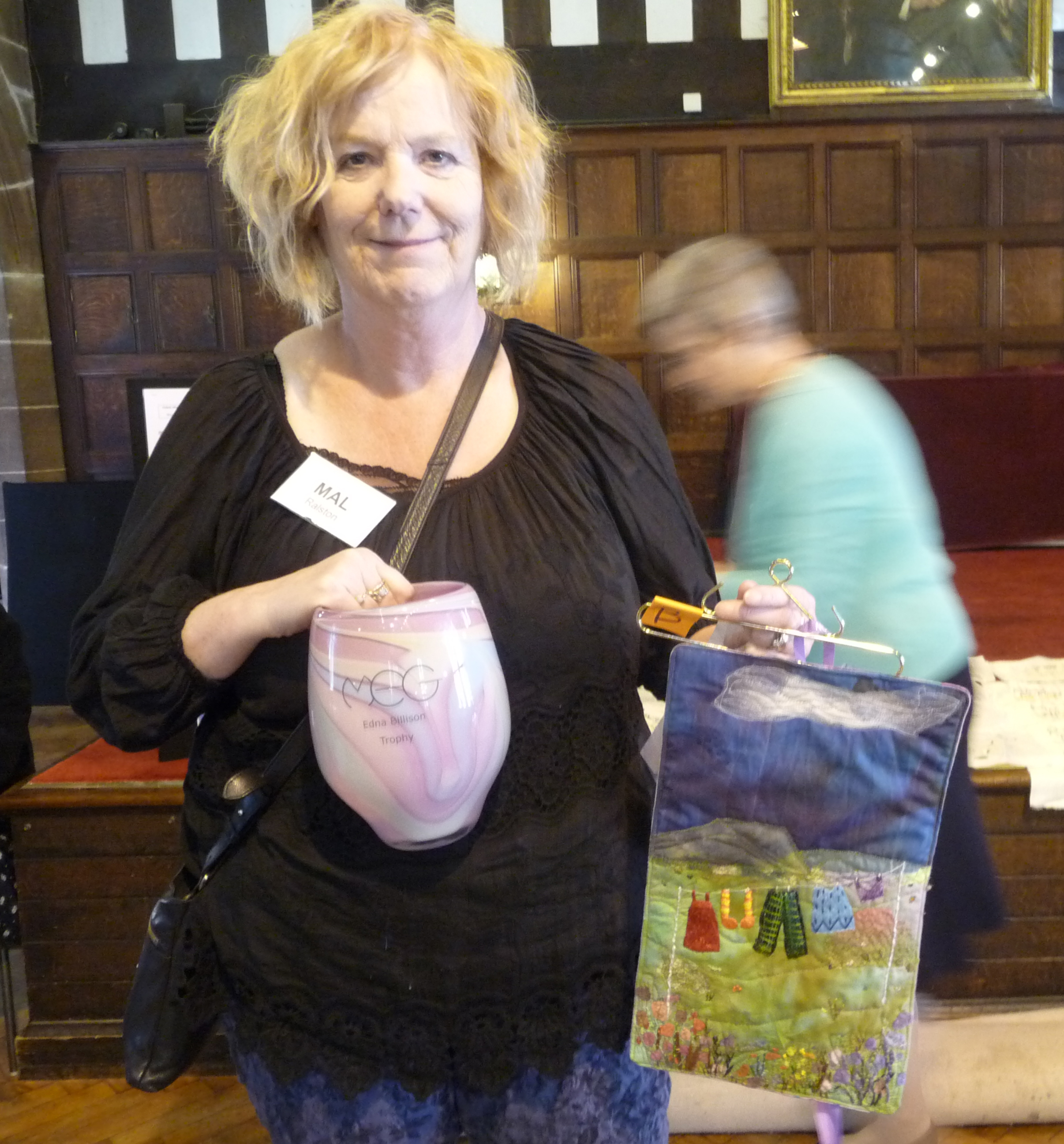 Mal Ralston and her winning embroidery in MEG Colour Competition 2015